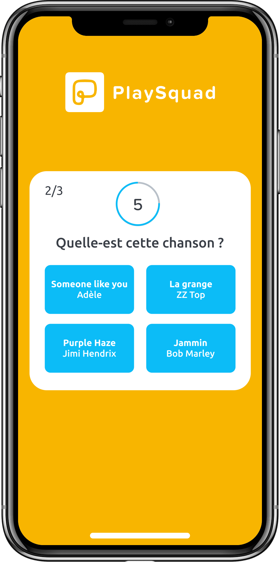 Capture d'écran de l'application PlaySquad au moment de répondre à une question