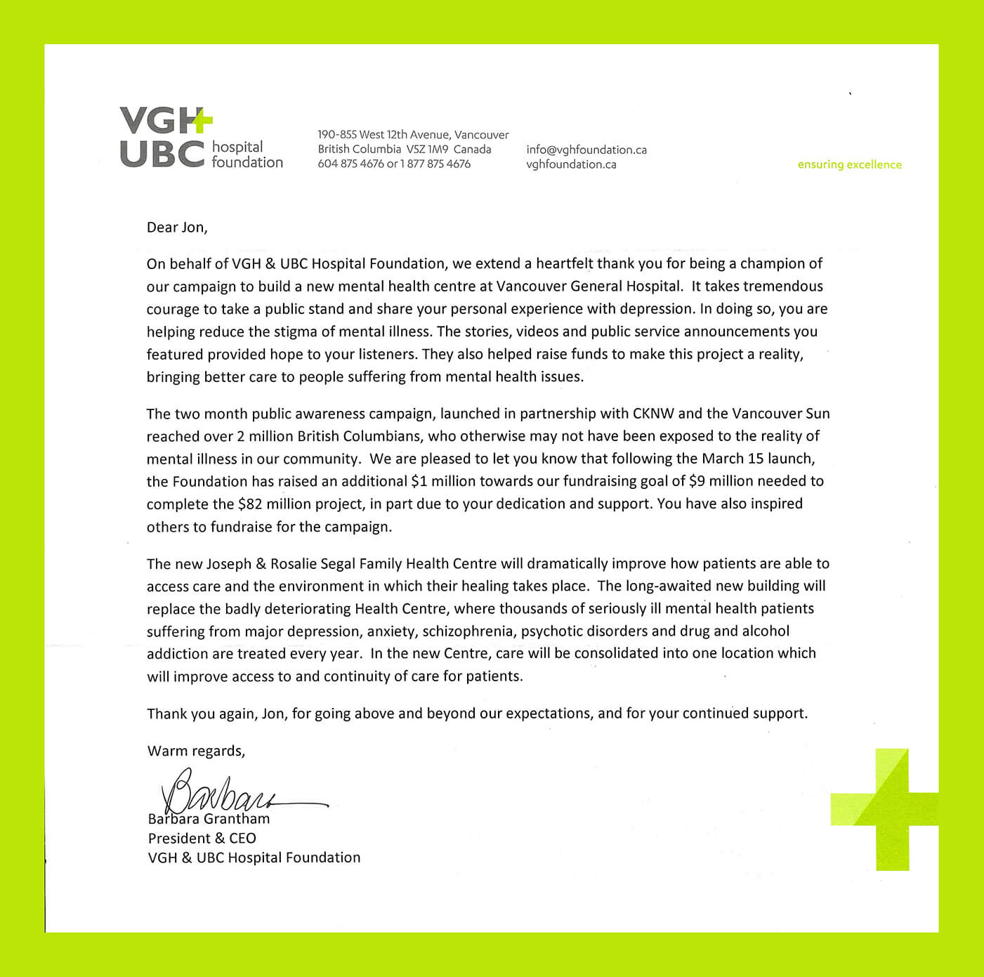 VGH Letter