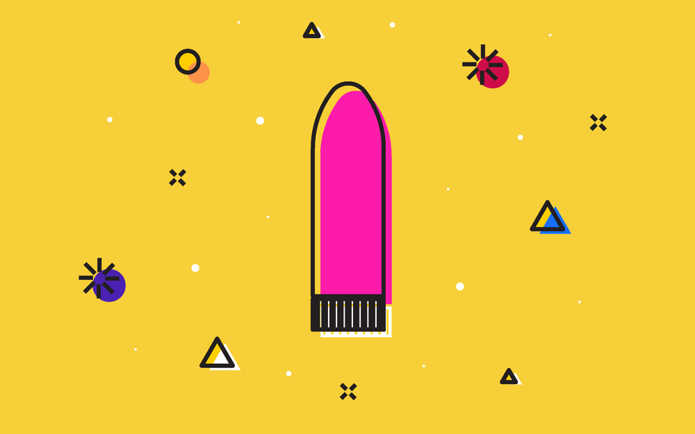 Pink dildo illustration against a yellow background.