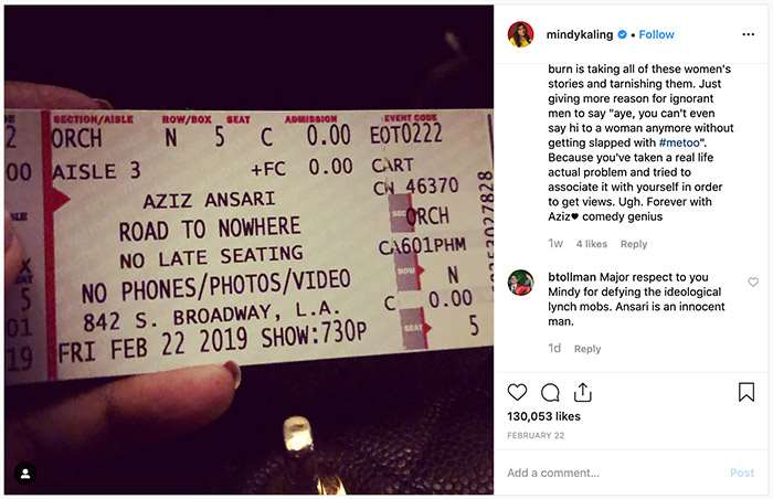 Mindy Kaling supports Aziz Ansari over Instagram