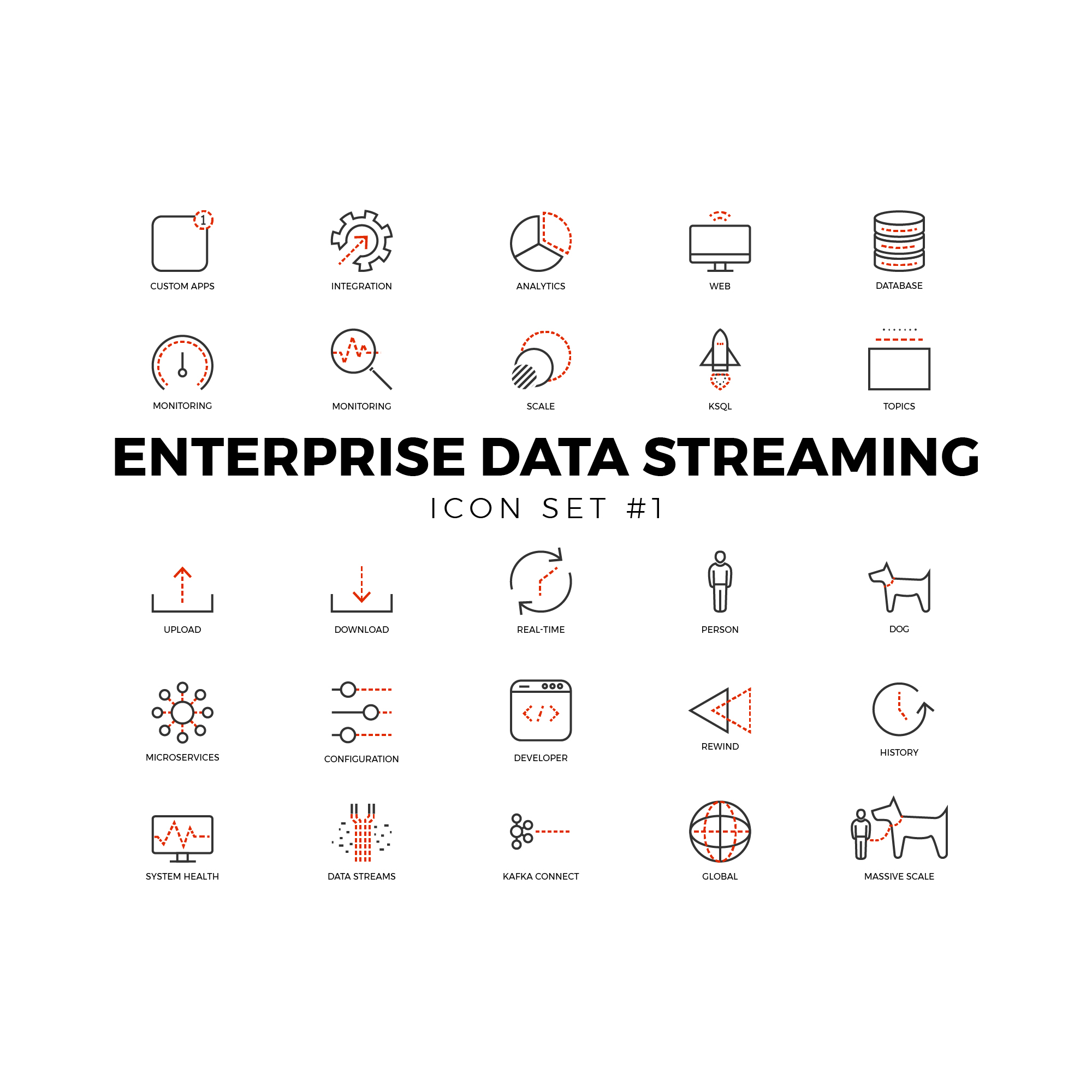 Enterprise Data Icons Set #1 Ideal for the modern data streaming business. Limited color palette in black and red.