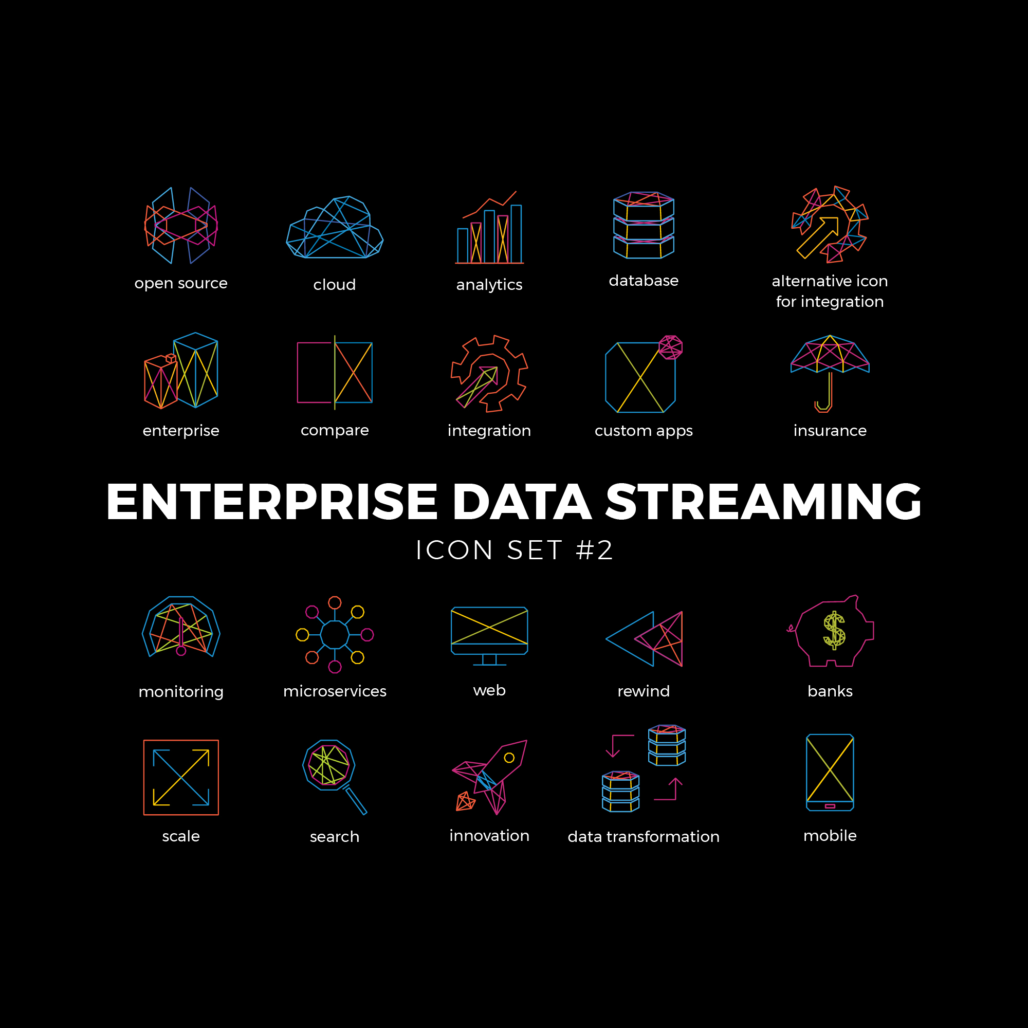 Enterprise Data Icons Set #2 Icons ideal for a modern data streaming company.
