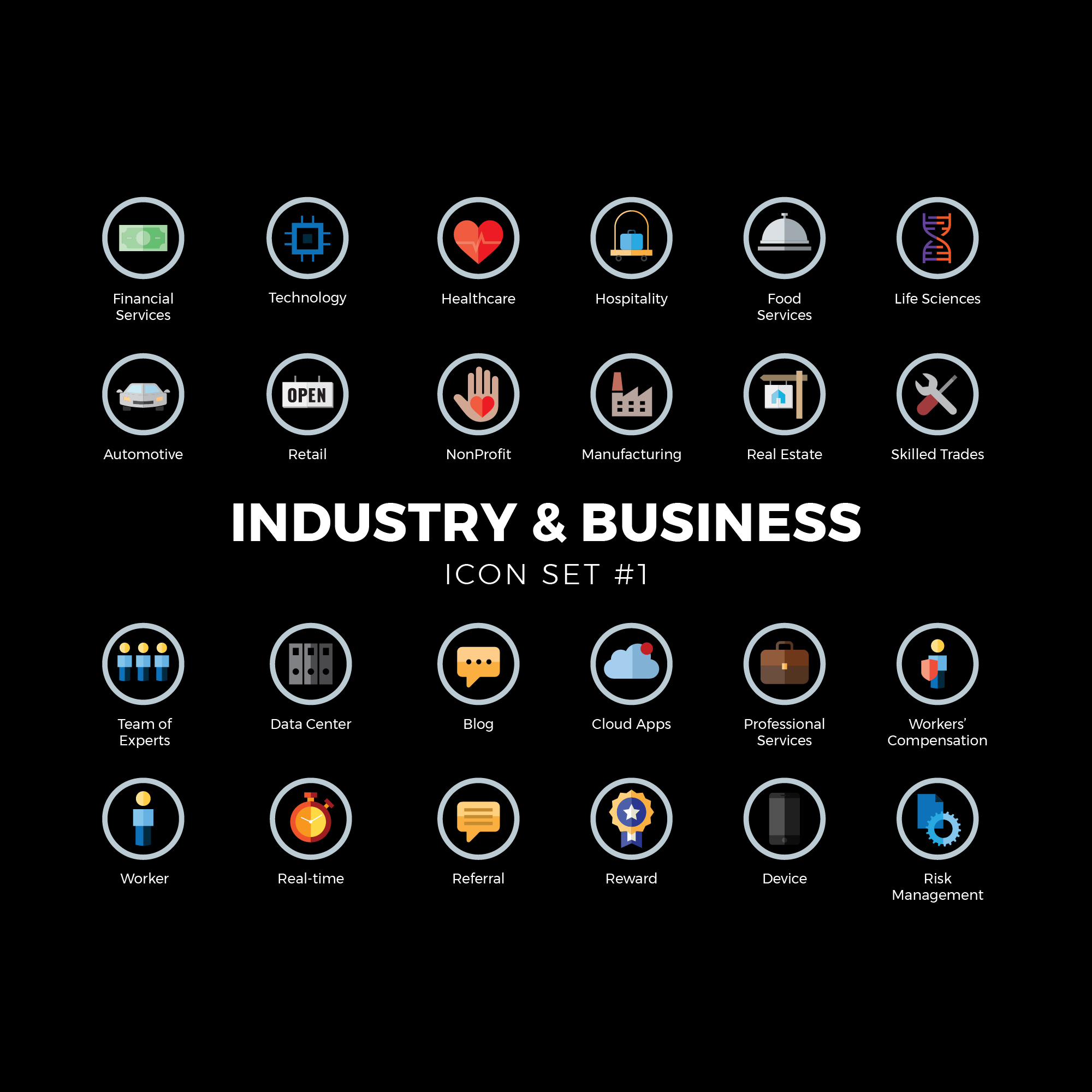 Industry & Business Icon Set vector icons for commercial use. Icons are full color in a gray circle with a folded look