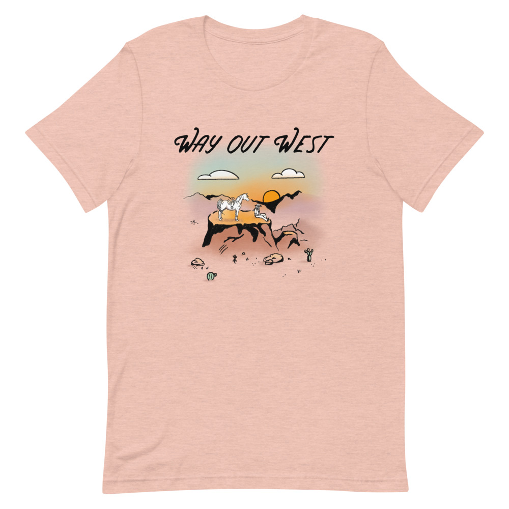 Way Out West Short Sleeve Unisex T-Shirt with cowgirl and horse on a plateau overlooking a desert canyon at sunset.