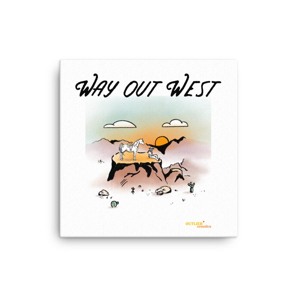Way Out West Square Canvas Print with cowgirl and horse on a plateau overlooking a desert canyon at sunset