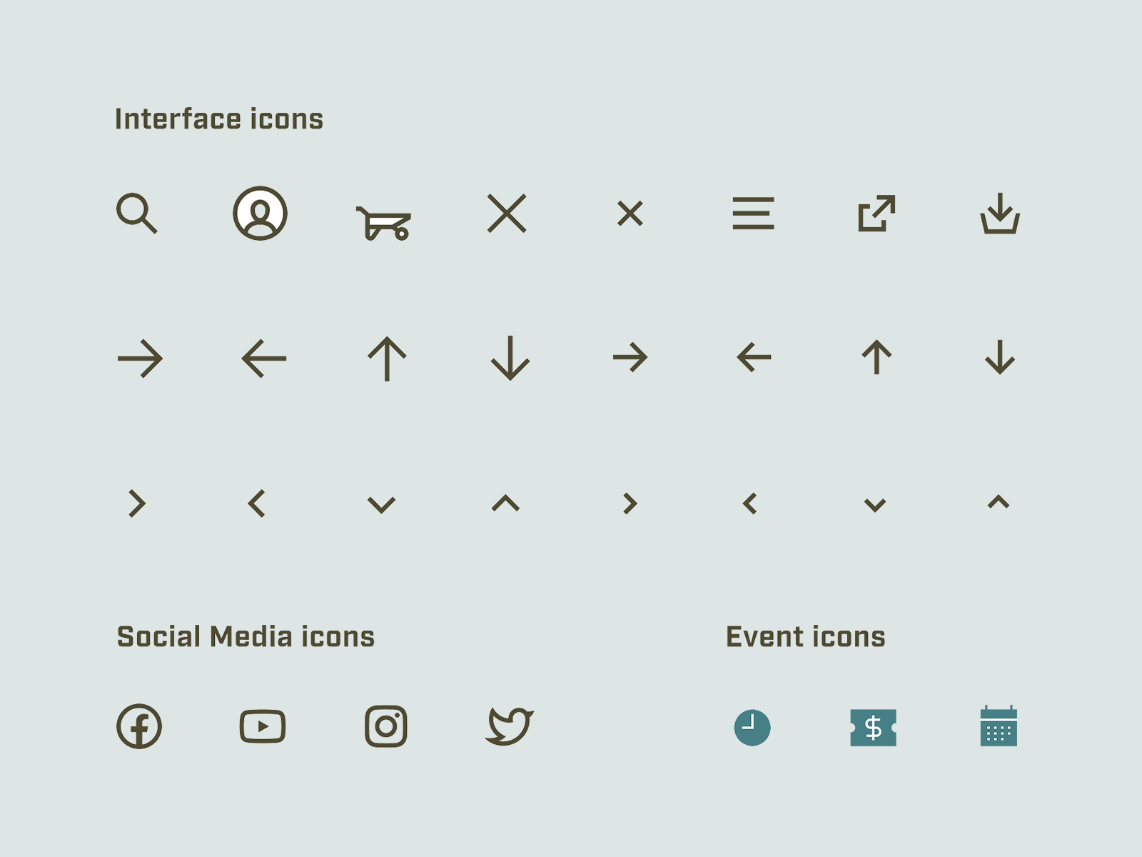 Image of custom icons for interface and social media