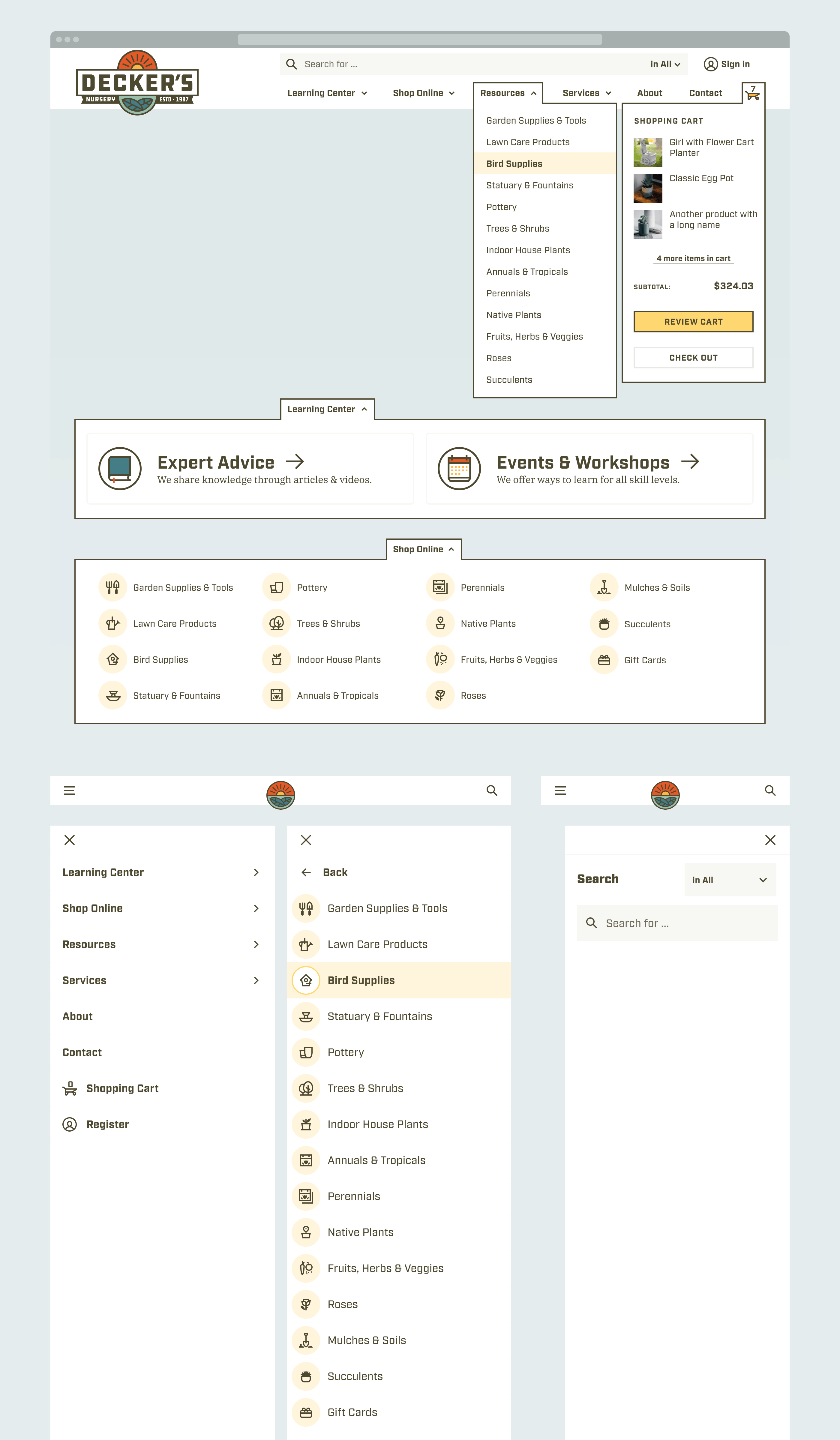 Collage of navigation UI components