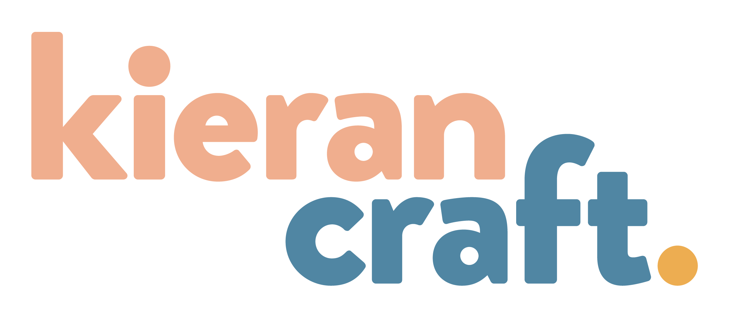Logo featuring the name Kieran Craft in salmon, blue, and mustard.