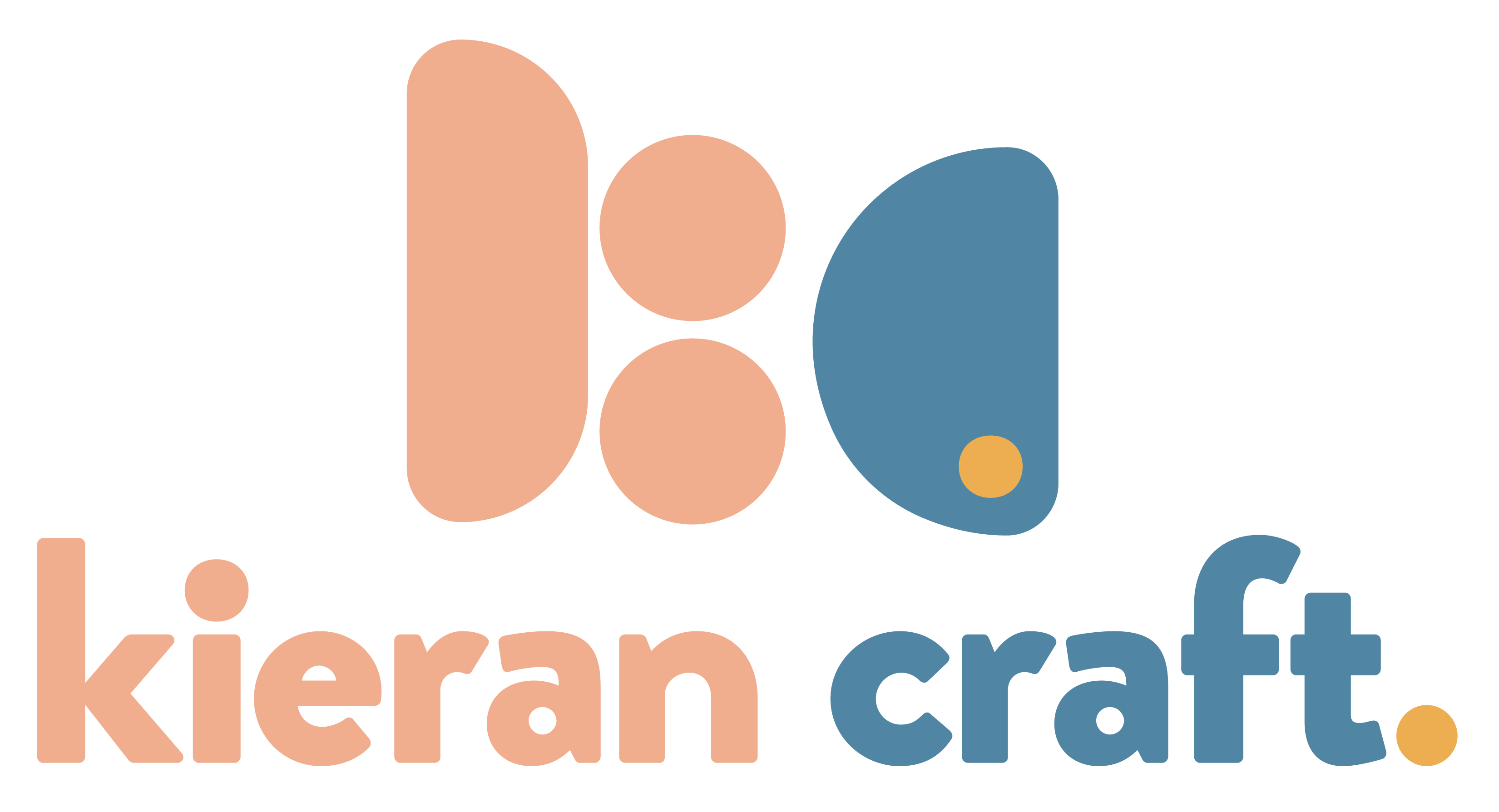 """Logo featuring the name Kieran Craft and a logomark that uses rounded shapes to represent an abstract """"KC."""""""