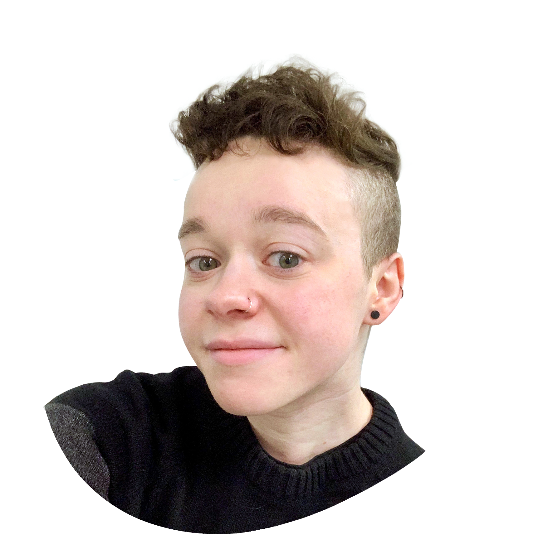 A round, organic splotch shape in off-white, featuring a headshot photograph of Kieran Craft. He has short brown hair that is buzzed on the sides, a silver nose ring, black stud earrings, and is wearing a gray and black sweater.