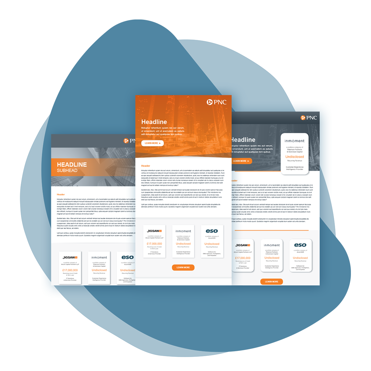 Organic blue splotch shape with an image three different email template layouts overlaid. Each of them features different sections and a combination of gray and orange as the color palette.