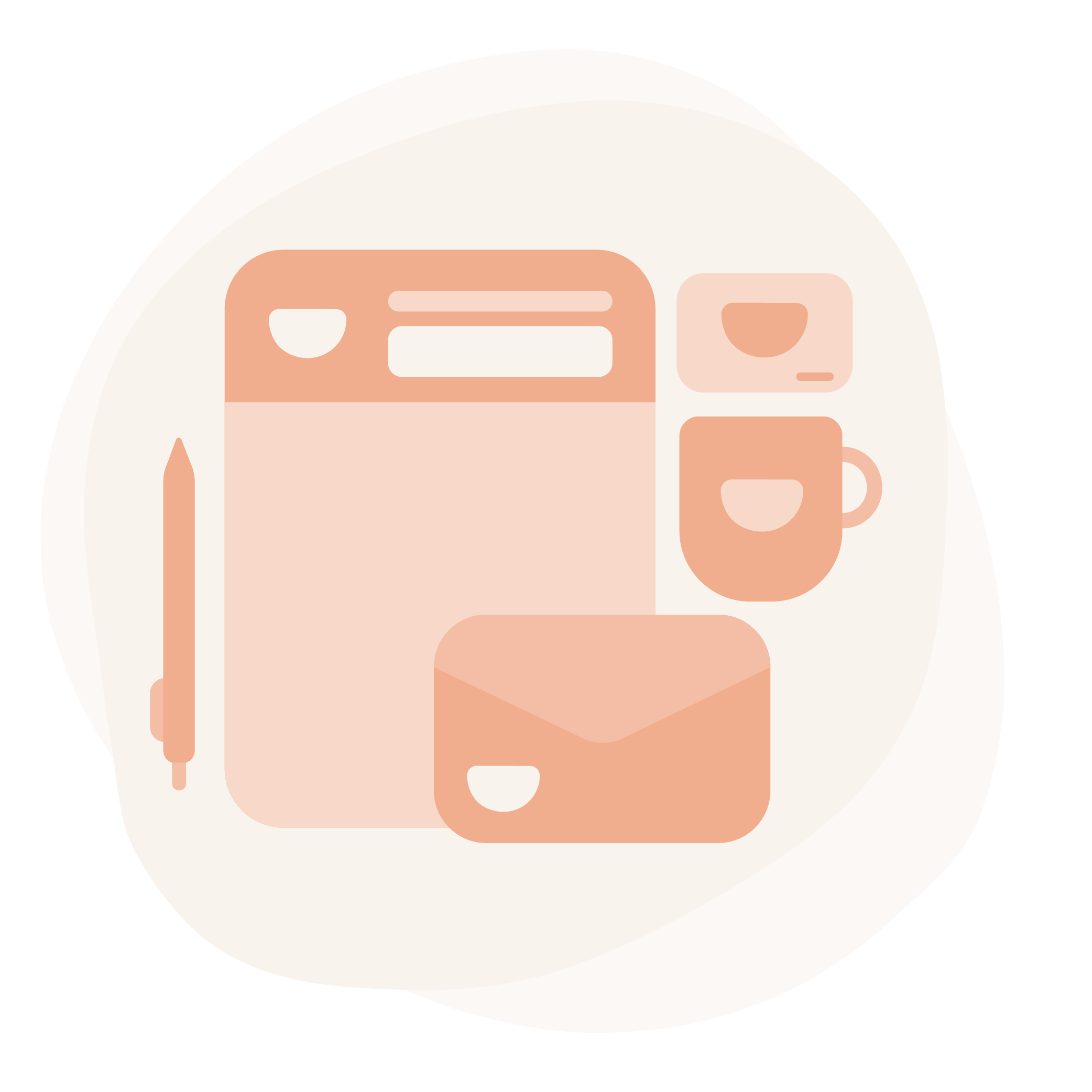 Organic off-white splotch shape featuring an illustration of stationary, an envelope, a mug, a business card, and a pen. They are made up of various shades of salmon color and feature a small crescent logo.