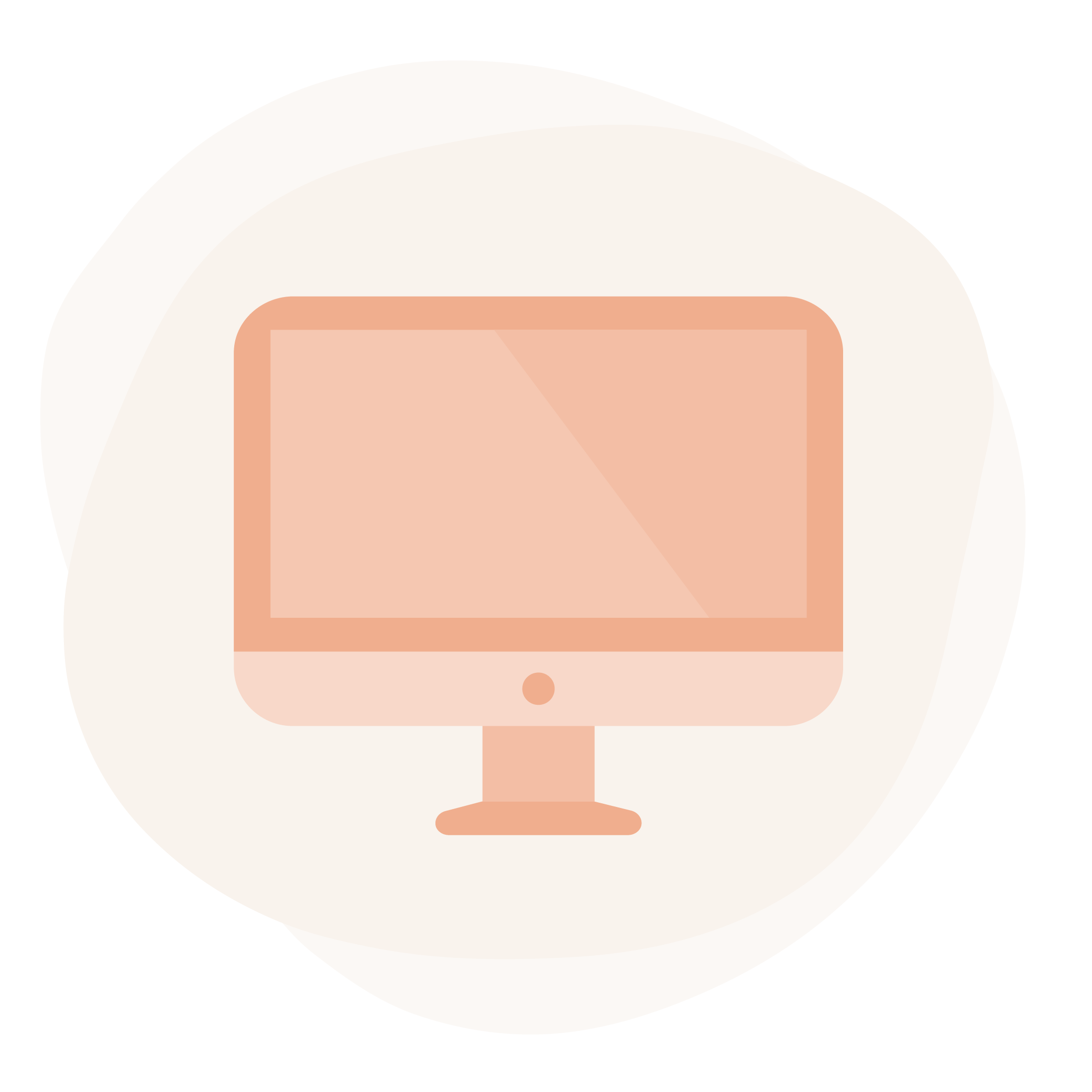 Organic off-white splotch shape featuring an illustration of a desktop computer monitor. It is in various shades of salmon and resembles a an iMac monitor.