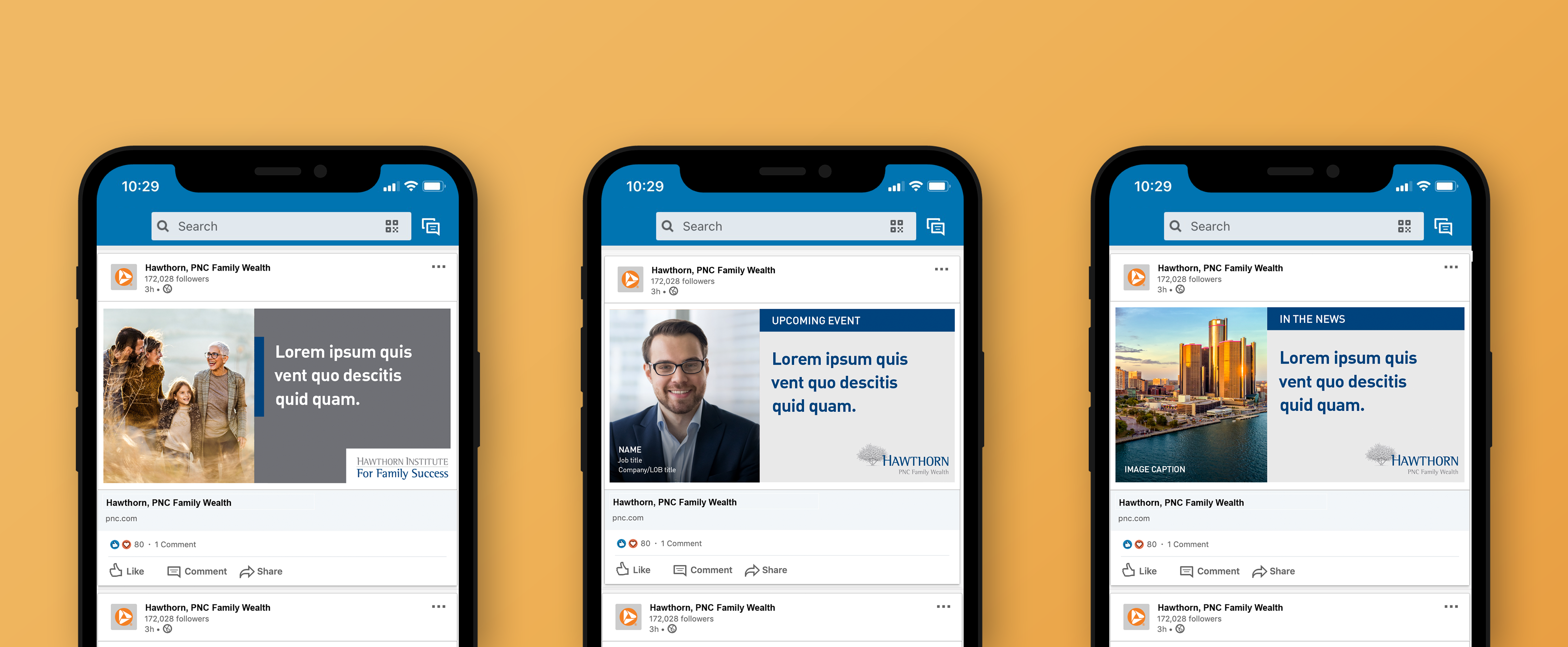 A mockup of three iPhone screens featuring Linkedin posts, over a mustard background. They are mainly dark gray, light gray, and dark blue, and feature full-color imagery.