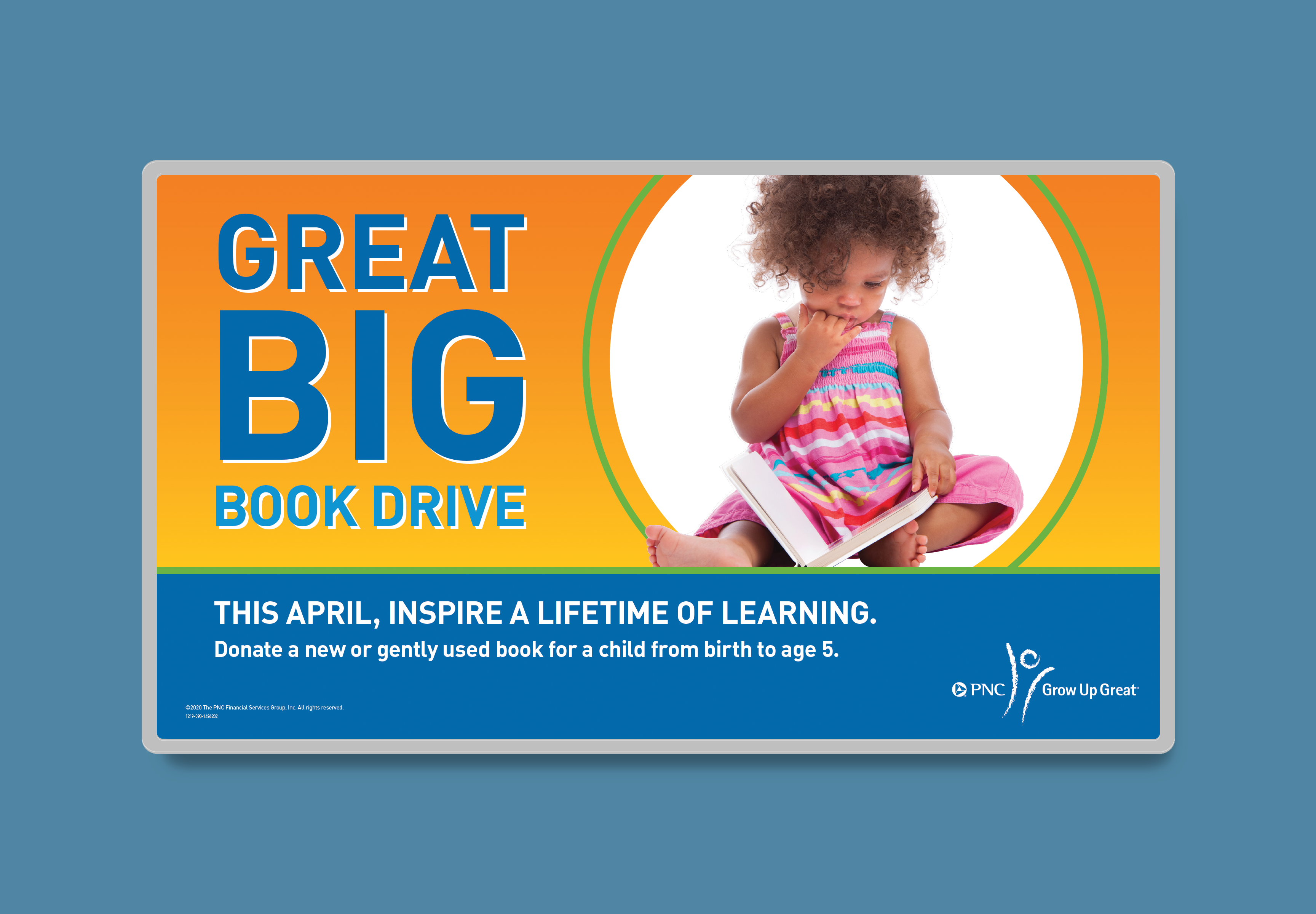 """A mockup of a digital screen over a blue background. The screen features a yellow-orange gradient and the headline """"Great Big Book Drive"""" in bold, blue text, next to an image of a child holding a book. The white body copy along the bottom of the screen features a blue background."""
