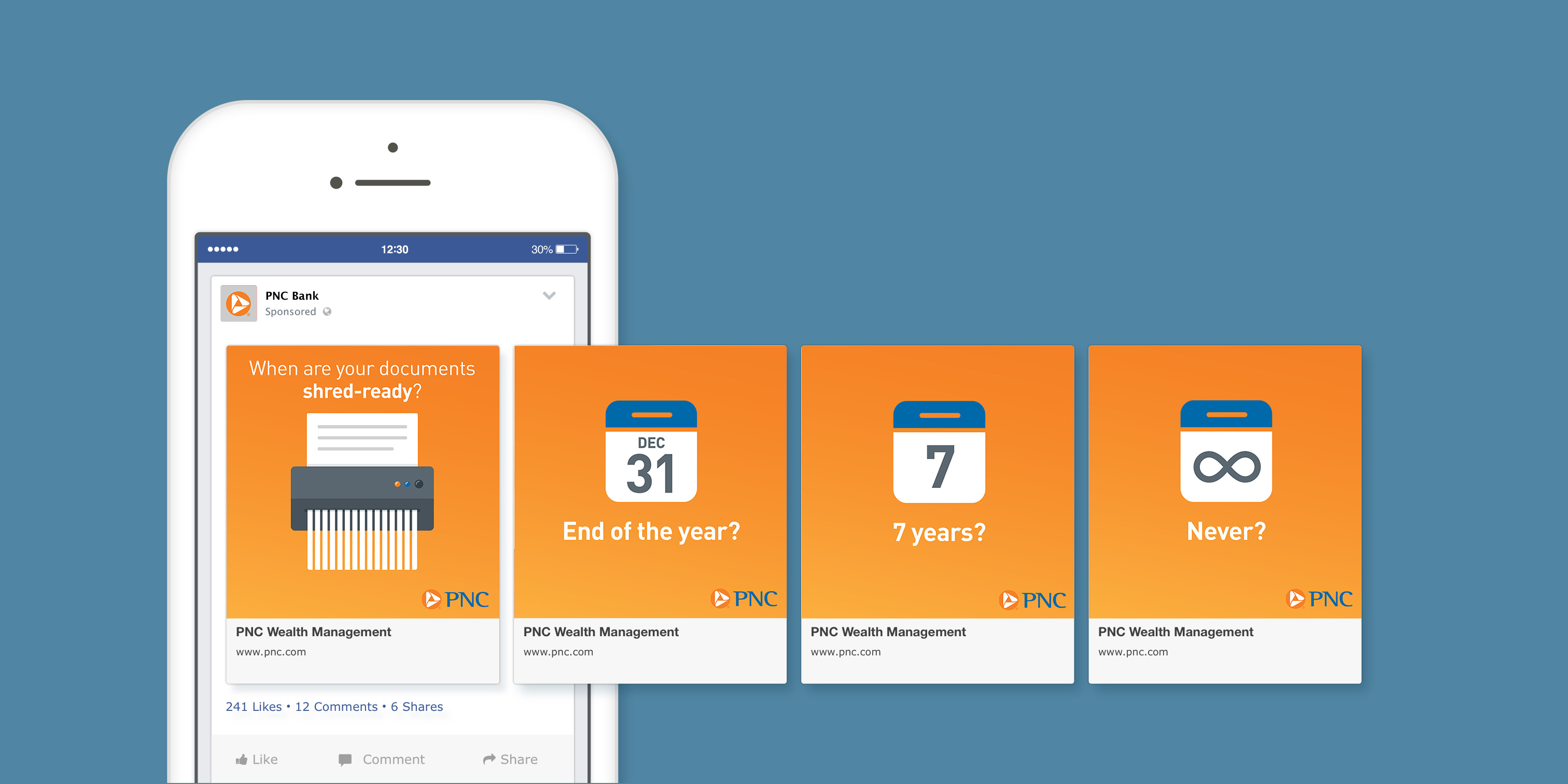 A mockup of a phone screen that shows four slides of a social media carousel post over a blue background. The slides feature an orange gradient background with copy that discusses when to shred certain type of documents, accompanied by illustrations of a shredder and calendars featuring various dates/amounts of time.