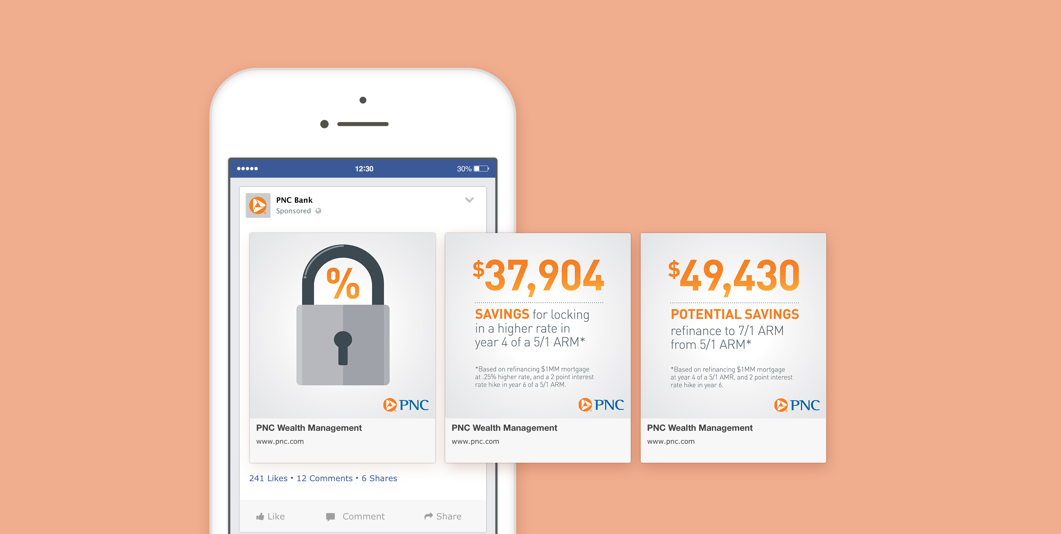 A mockup of a phone screen that shows three slides of a social media carousel post over a salmon-colored background. The slides feature a lock graphic and monetary information about locking in mortgage rates.