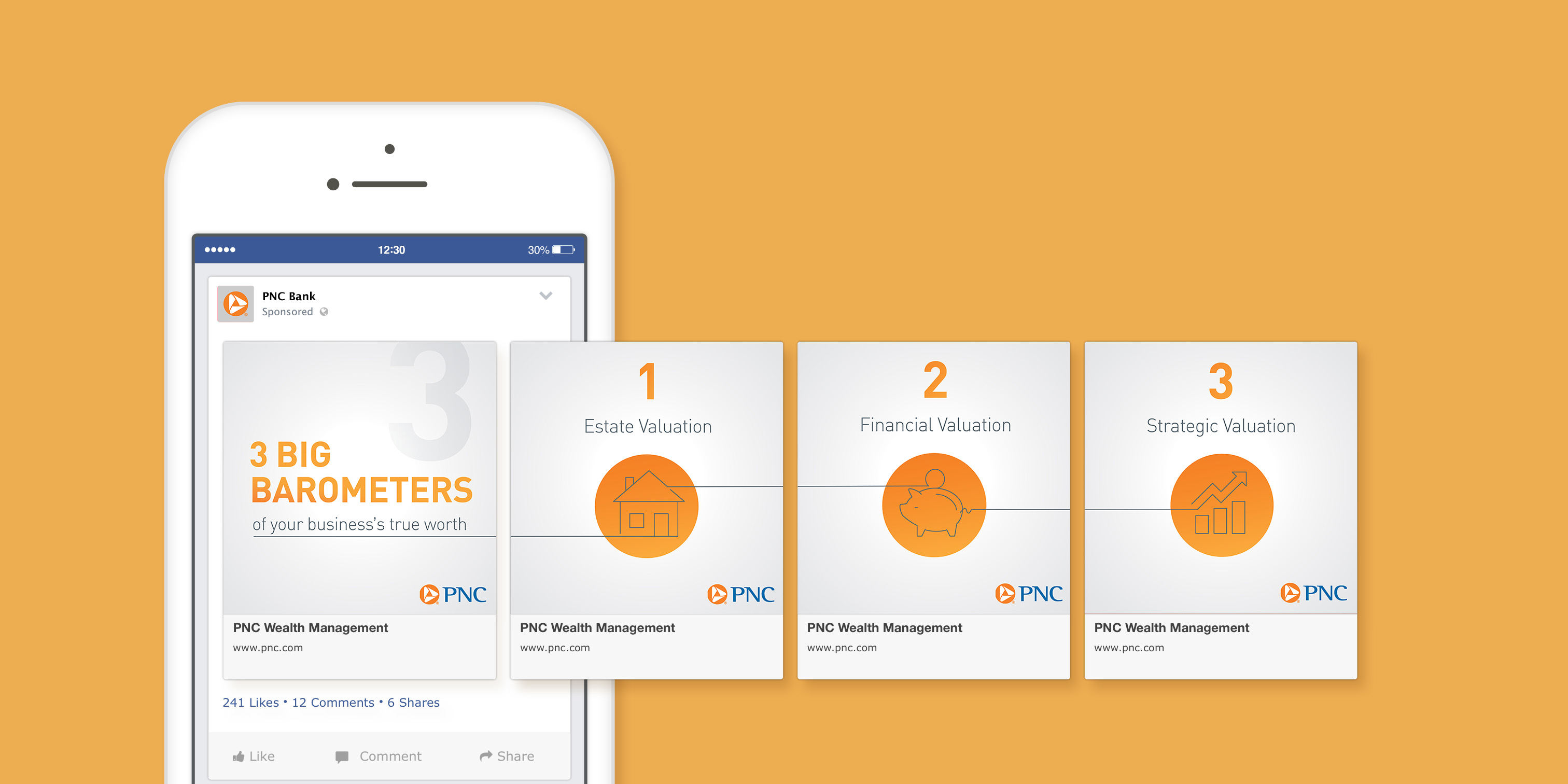 """A mockup of a phone screen that shows four slides of a social media carousel post over a mustard background. The slides feature a light gray gradient background with copy that explains the """"3 big barometers of your business's true worth."""" Each slide features one of these points and a gray lineart icon over a circular orange gradient background."""