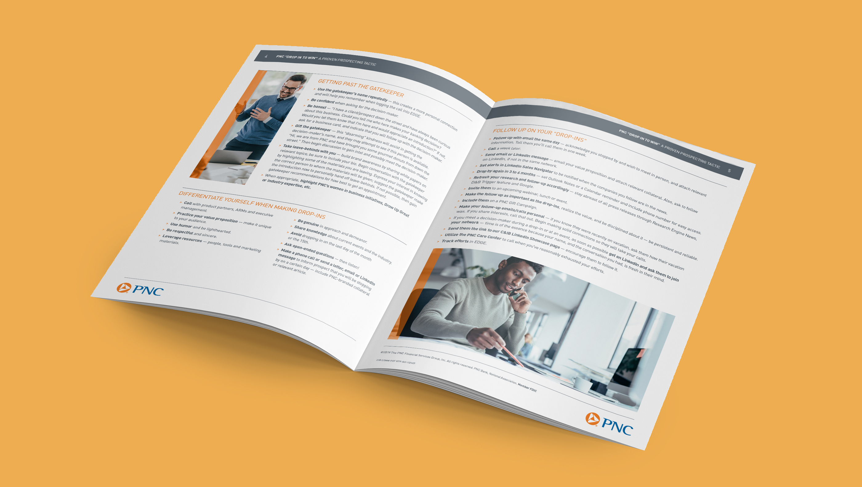 A mockup of a brochure with the pages open over a mustard background. The spread features white pages with dark gray header bars, dark gray body copy, and imagery of business people.