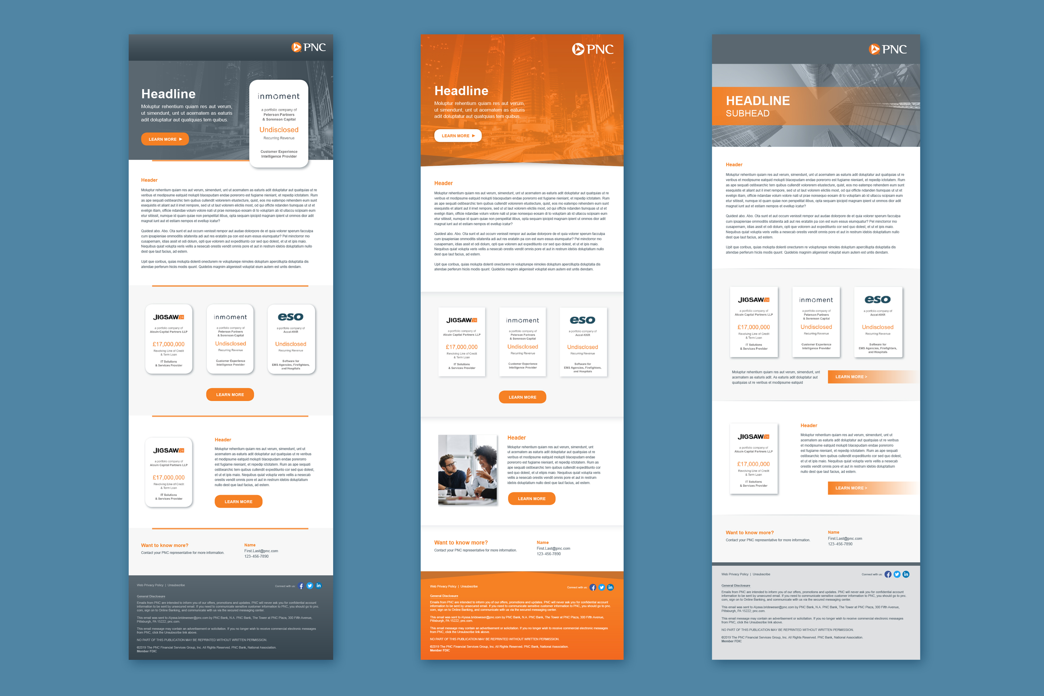 Three different email template layouts over a blue background. Each of them is broken into different sections and features gray and orange as the main color palette.
