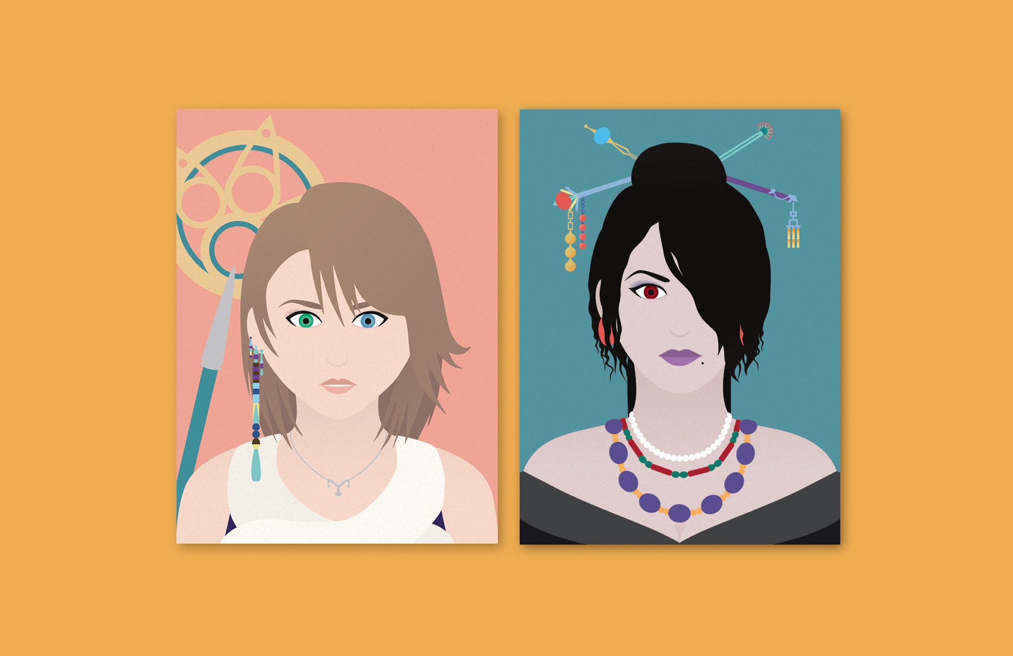 Two vector illustrations over a mustard background. The first is a portrait of Yuna from the video game Final Fantasy X, over a salmon-colored background. The second is Lulu from the same game, over a teal background.