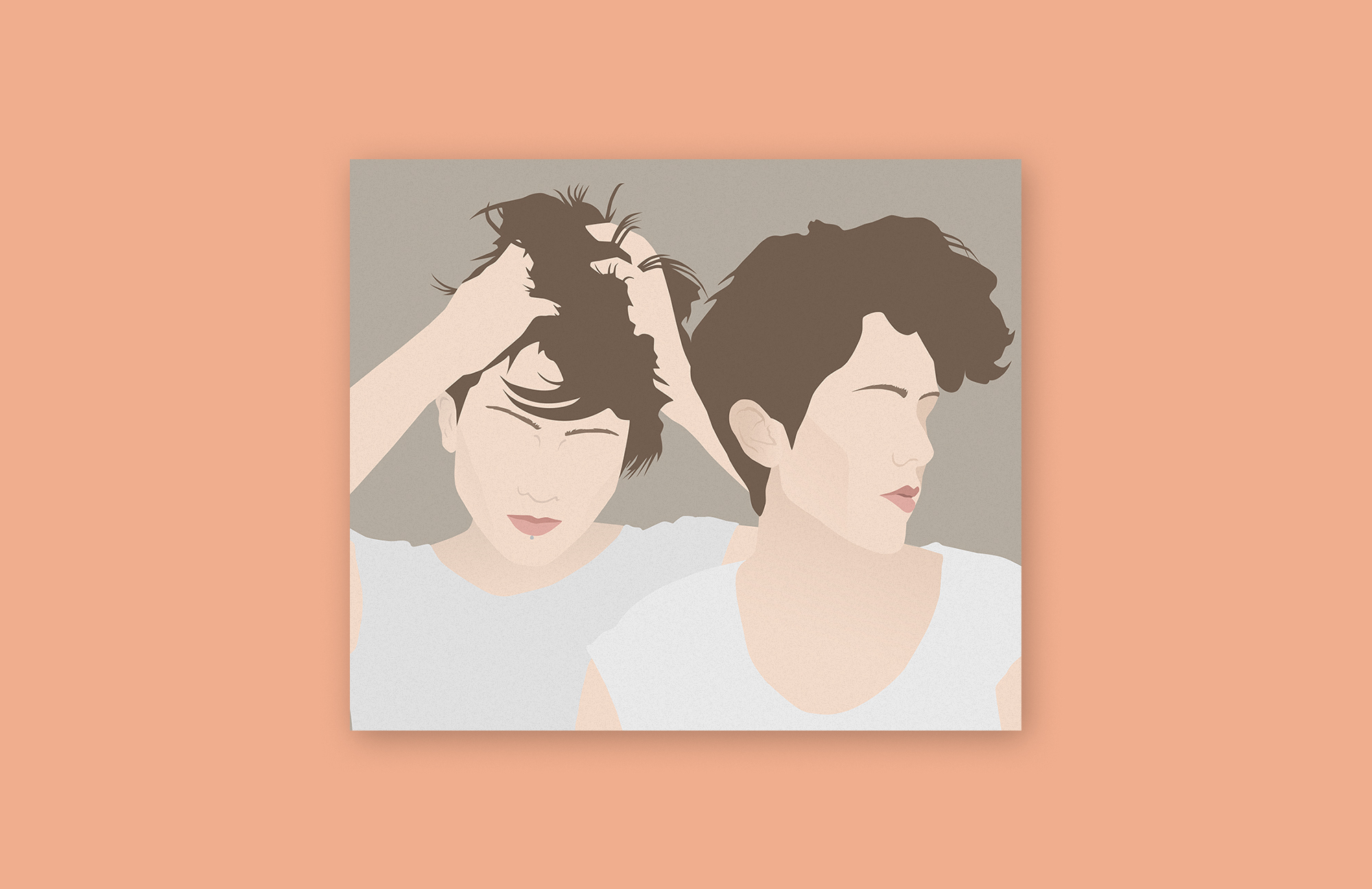 A vector illustration of the musicians Tegan and Sara over a salmon-colored background. The illustration itself is mainly shades of brown and peach, and the two faces do not include eyes.