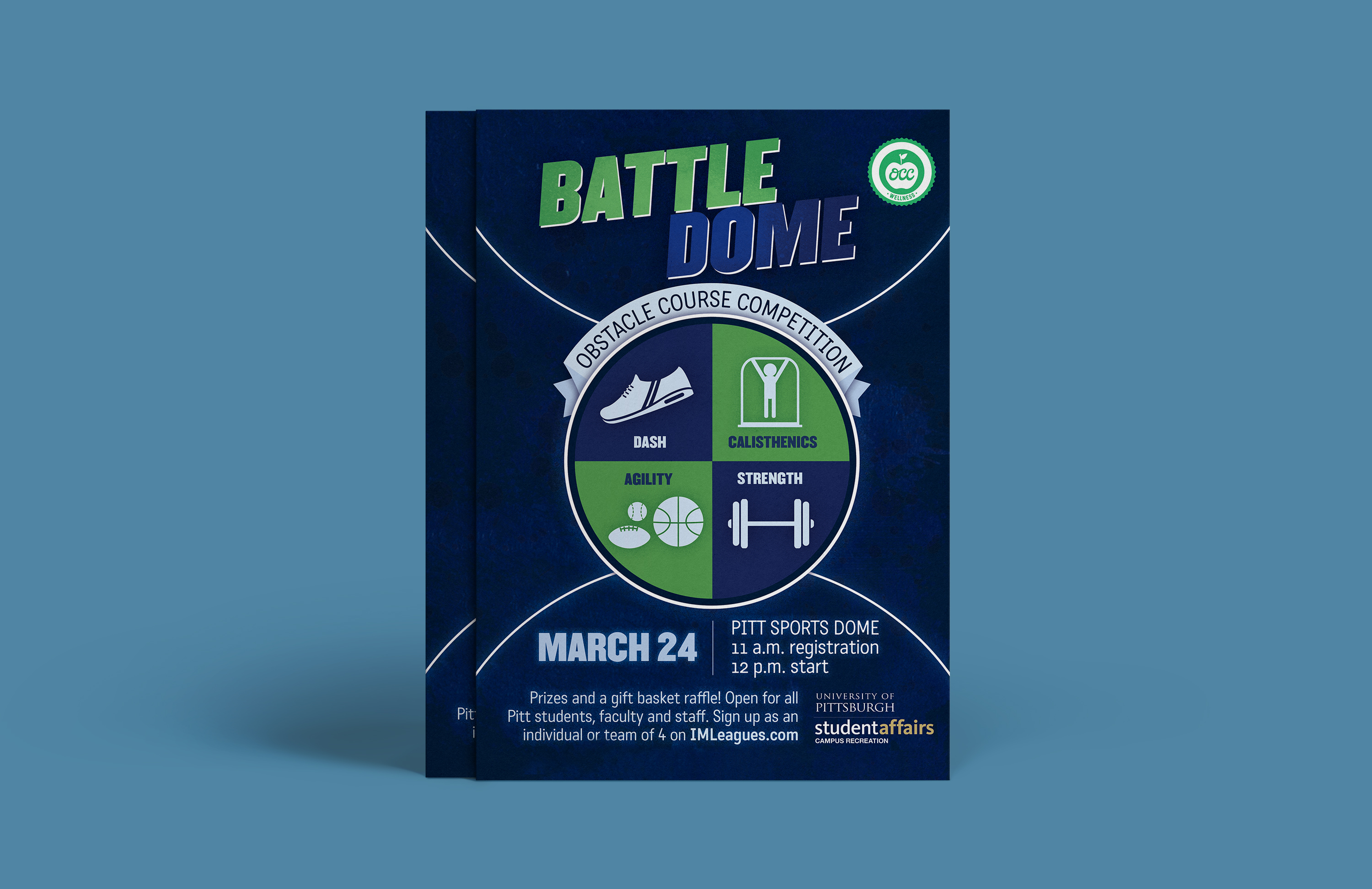 A mockup of a poster over a blue background. The poster served as an ad for a student triathlon-type event. The design features a textured, dark blue background with white arcs that resemble the lines on a basketball court. There is also a large circular graphic in the center with icons over a blue and green background which represent each event - dash, calisthenics, agility, and strength.