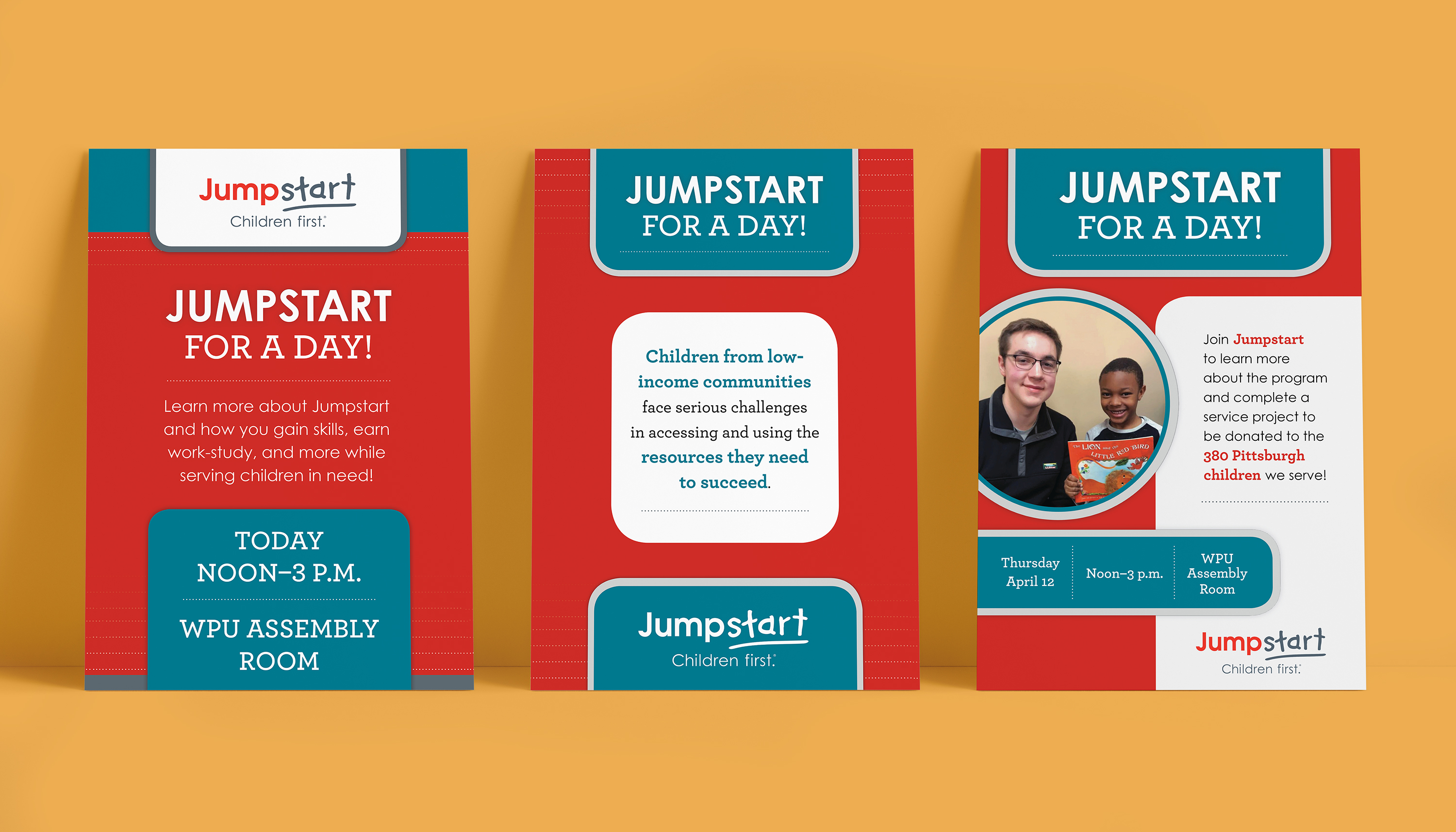 A series of three poster mockups over a mustard background. The posters all incorporate rounded rectangles and a red, white, and teal color palette, as well as a large Jumpstart logo.