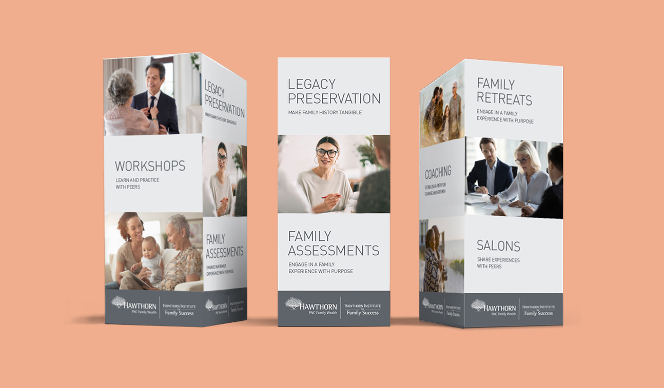 A mockup of a 4-sided standee from three different angles. The standee features a dark gray footer bar along the bottom of each side that includes the Hawthorn Institute for Family Success logo. Each side has 3 sections that alternate between full-color imagery and light gray backgrounds with copy describing the services that IFS offers.