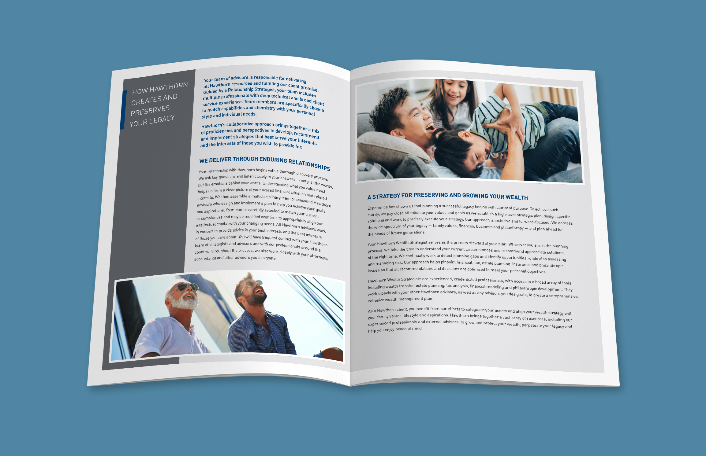 A mockup of an open brochure, showing an inside spread over a blue background. The pages feature a light gray background with a thick white border. On the left, there is a dark gray sidebar that houses a blue bar anchoring the white headline copy. This page features body copy followed by an image of a parent and adult child on a boat. The right page features an image of a parent playing with their children on a couch, followed by more body copy.