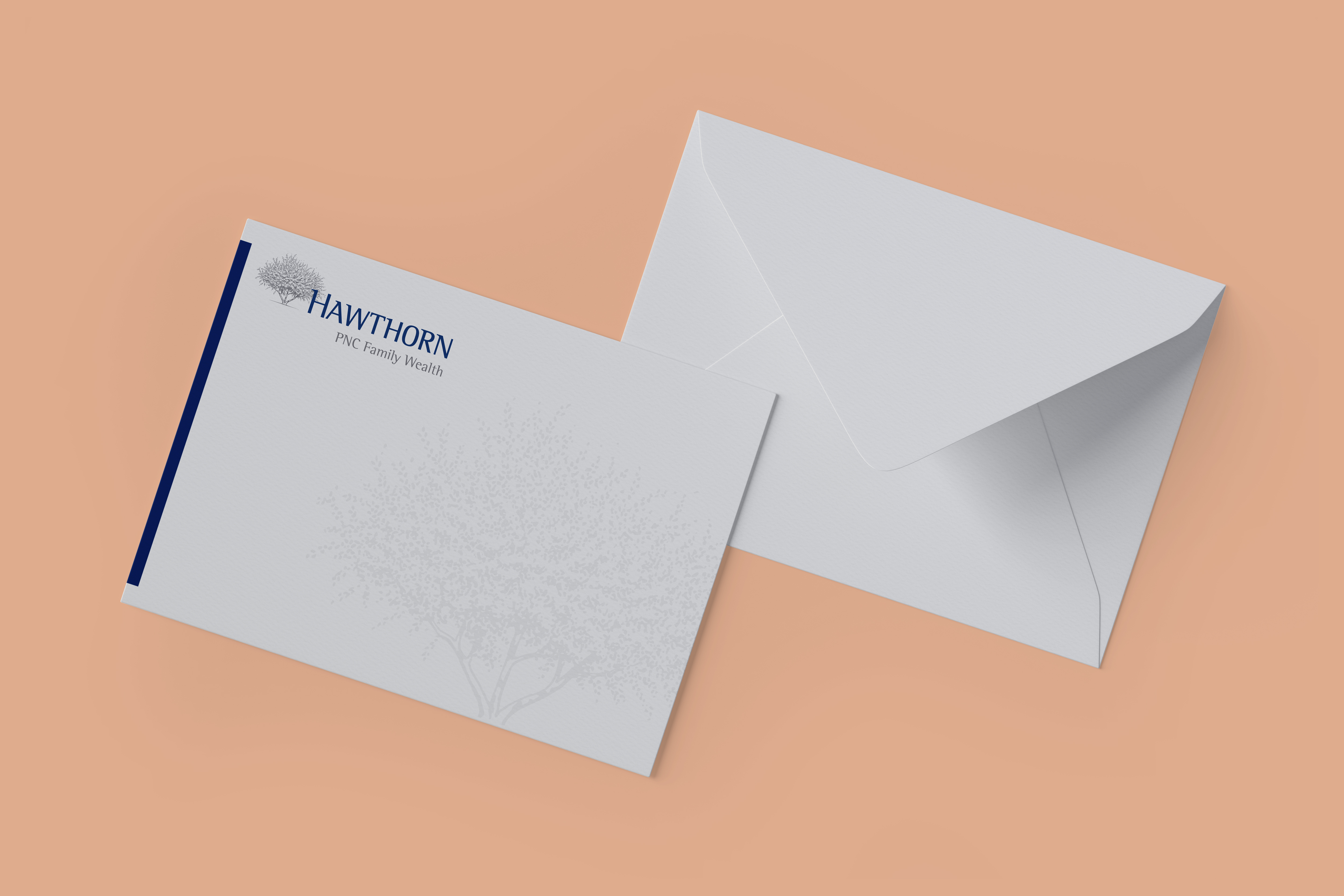 A mockup of the front and back of an envelope over a salmon-colored background. The envelope is light gray and the front features a disconnected, blue bar along the left side and the Hawthorn logo in the top left corner.