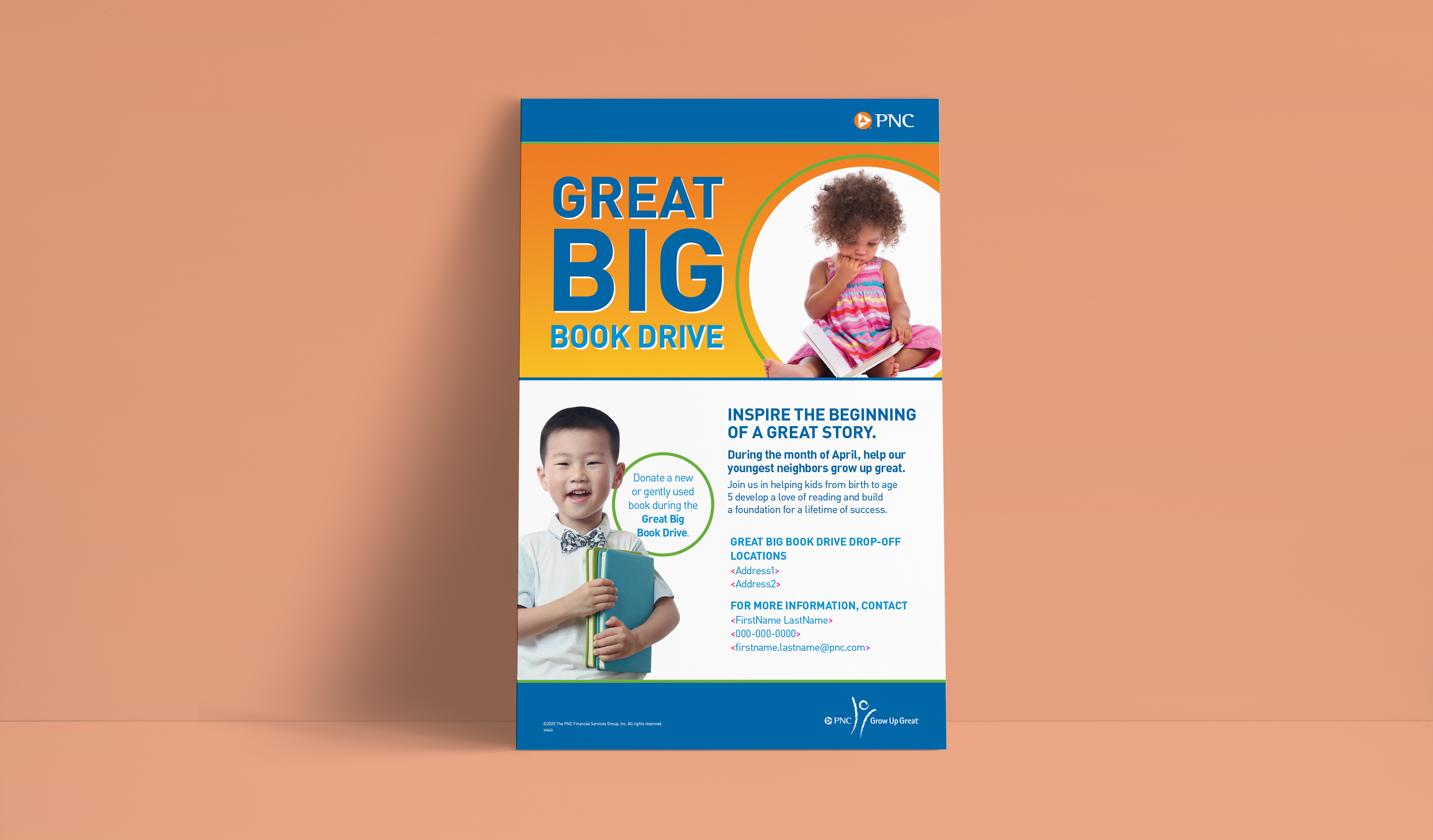 """A mockup of a poster, over a salmon-colored background. The header and footer are blue. The main headline section features a yellow-orange gradient and bold blue copy reading """"Great Big Book Drive,"""" next to an image of a child holding a book. Below, there is more copy with details about the book drive, alongside another image of a happy child holding a book."""