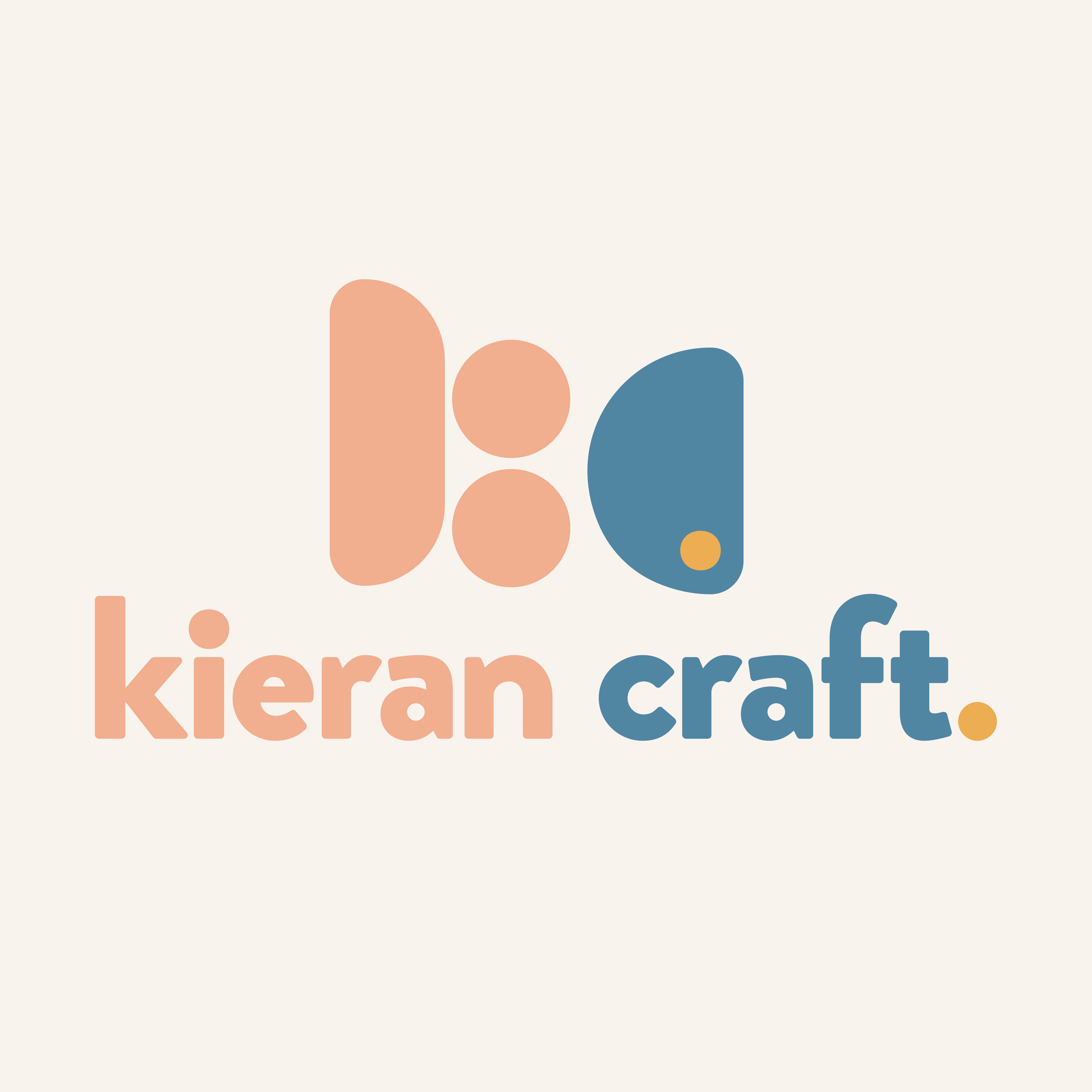 """Instagram post from @kierankcraft that features Kieran Craft's logo on an off-white background. The salmon, blue, and mustard-colored logo includes the name Kieran Craft and a logomark that uses rounded shapes to represent an abstract """"KC."""""""