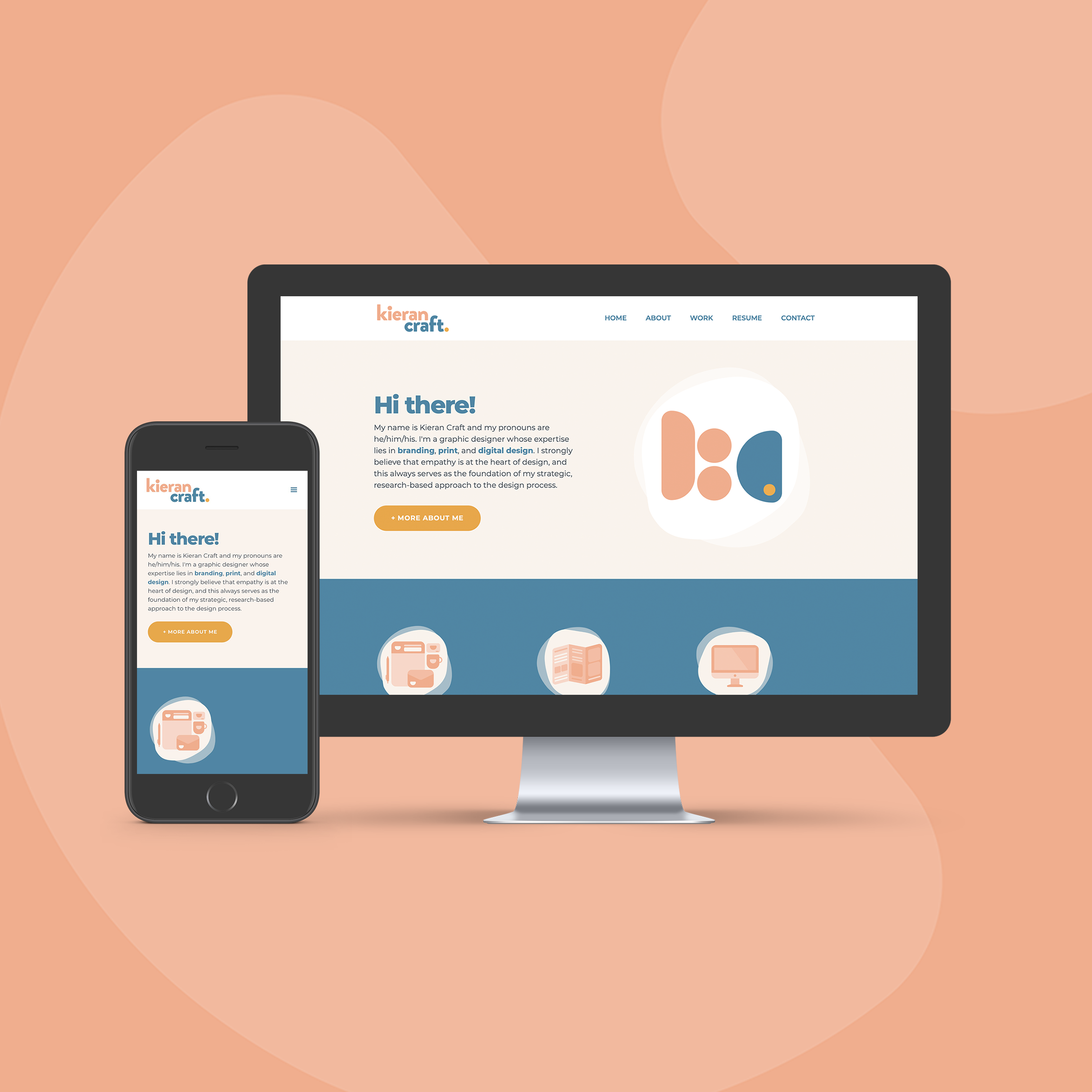 An Instagram post with a salmon-colored background that features rounded shapes in a slightly lighter color. Over the background is phone and laptop mockup that displays KieranCraft.com.
