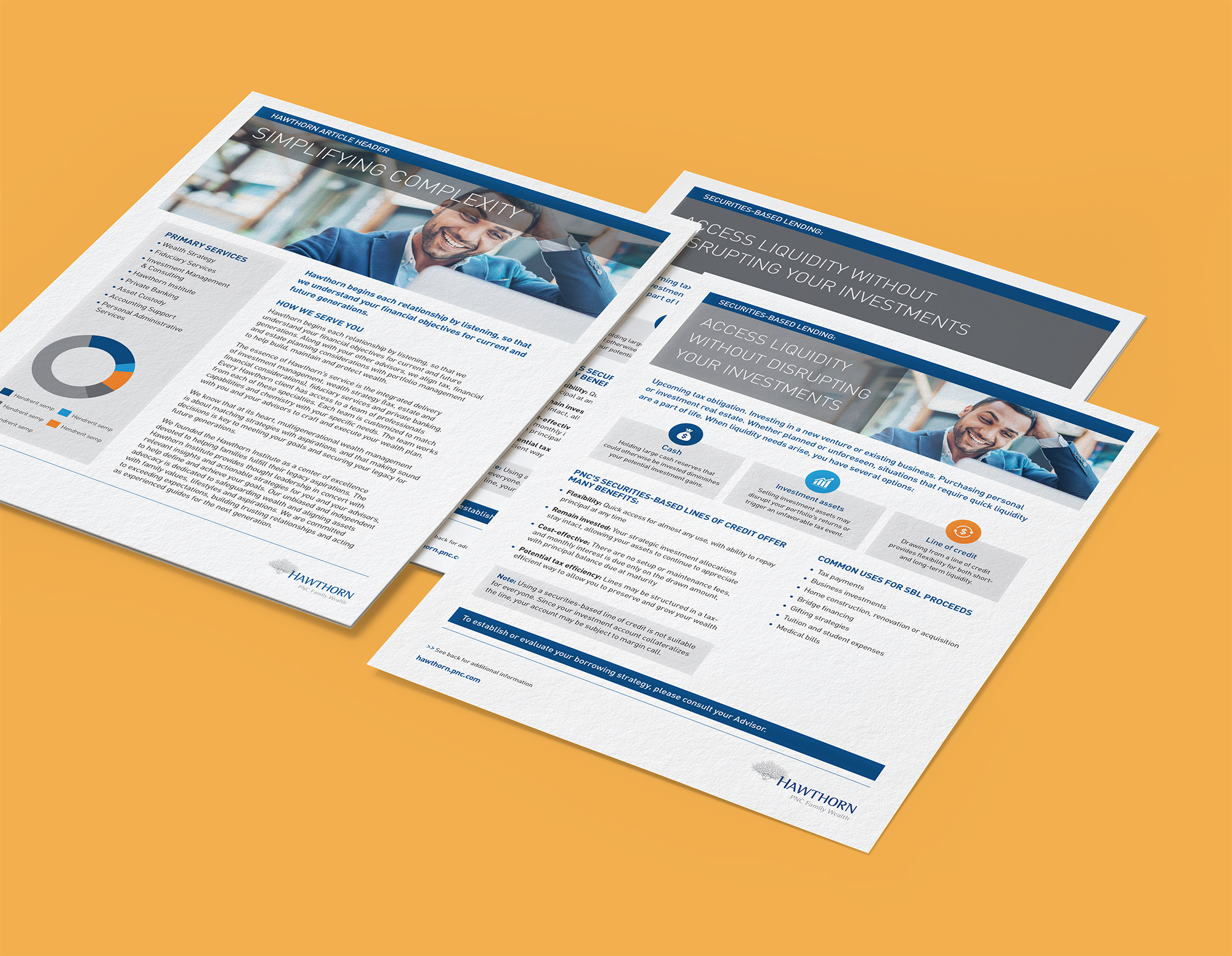 Mockups of three fact sheet/article layouts over a mustard background. Each features Hawthorn's dark gray, light gray, and dark blue color palette, with a header consisting of a gray background and full-color business imagery.