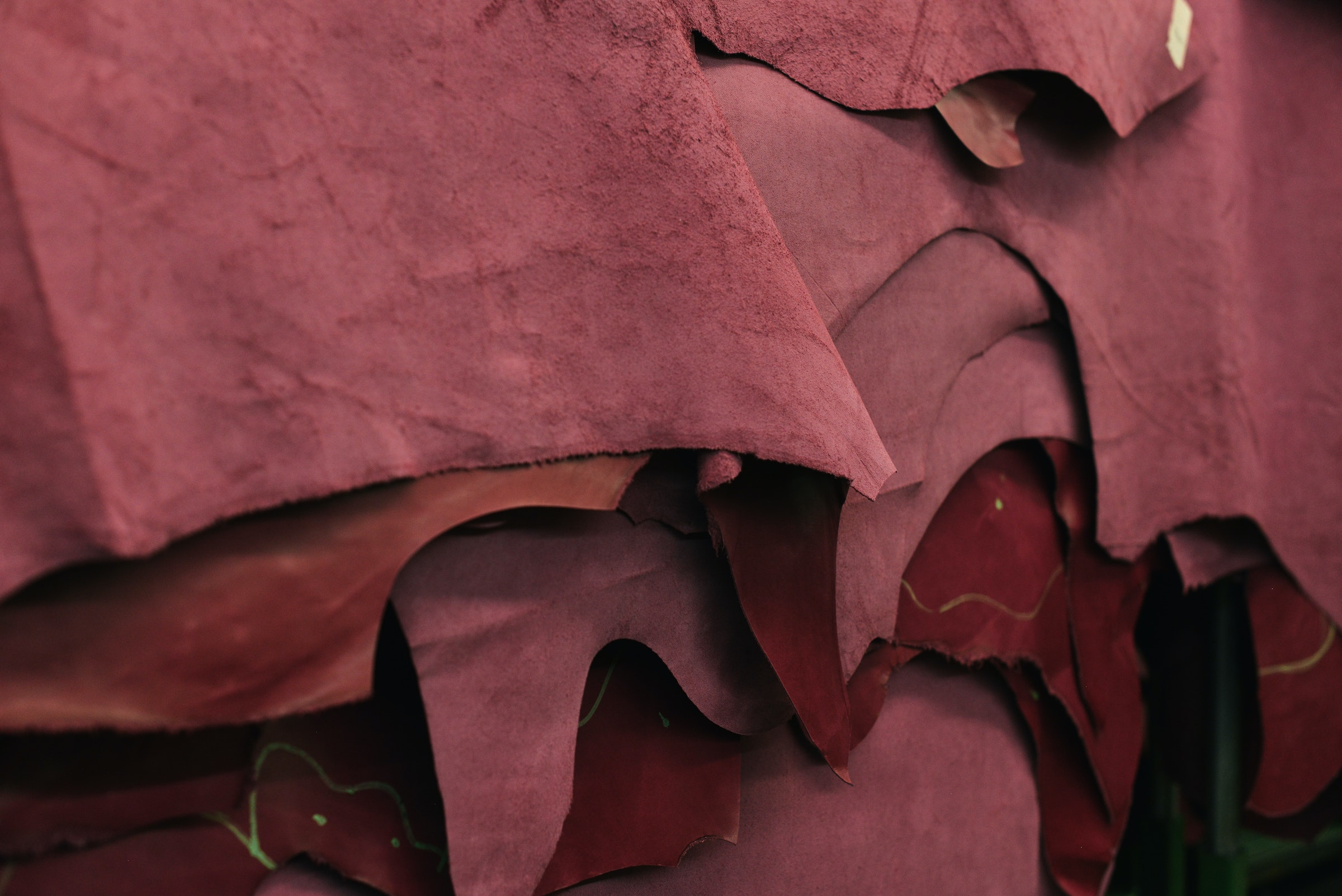 stack of leather hides