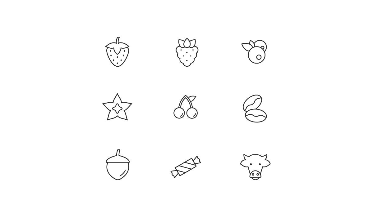 Ein Icon Set aus verschiedene Geschmacksrichtungen