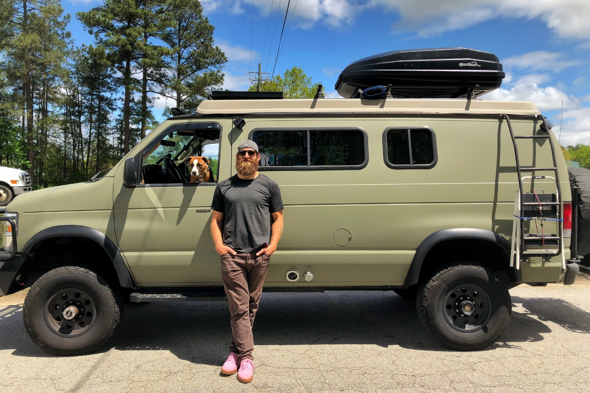 Joe Hawley with dog Freedom transitioning from NFL to van life