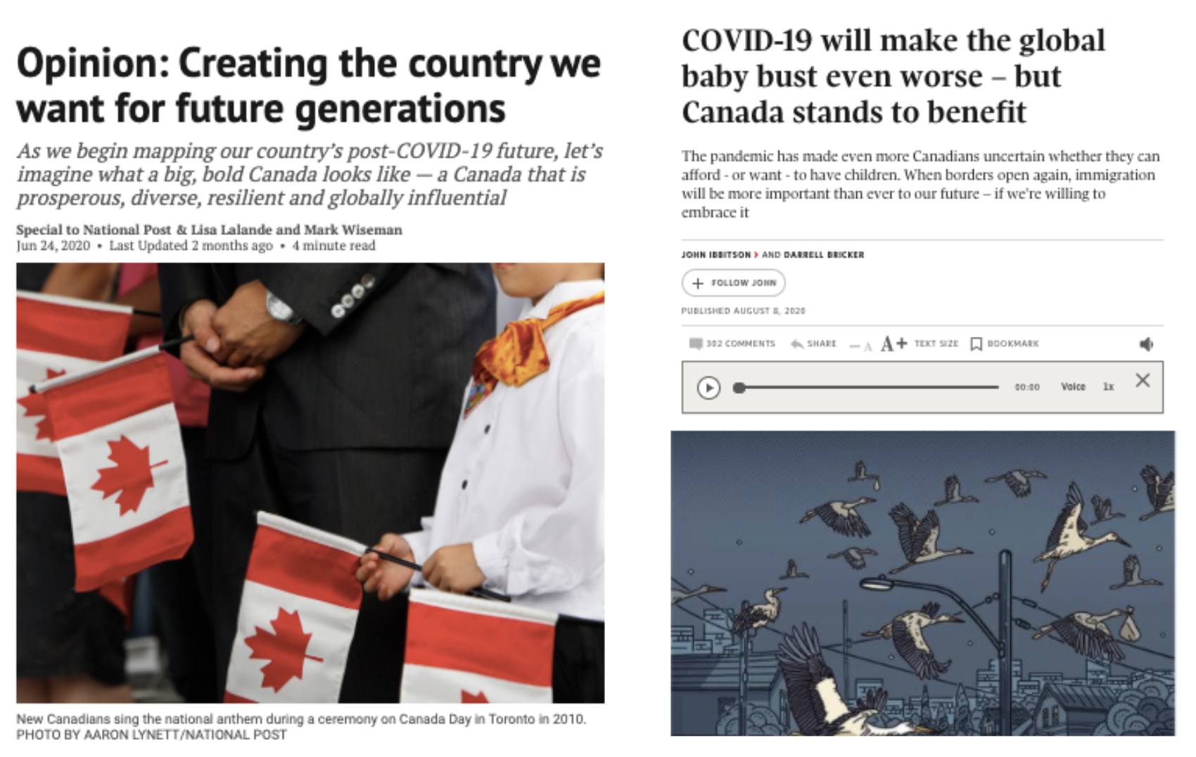 """Screenshot of an online article reading """"Opinion: Creating the country we want for future generations"""" and another reading """"COVID-19 will make the global baby bust even worse - but Canada stands to benefit"""""""