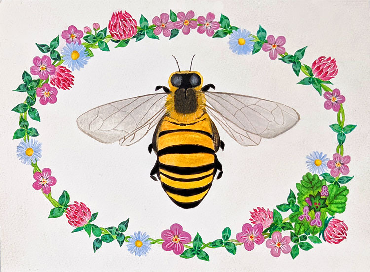 A honey bee, painted in the center of the page, surrounded by an elliptical chain of clovers and small flowers, mostly red and purple with some small blue daisies.