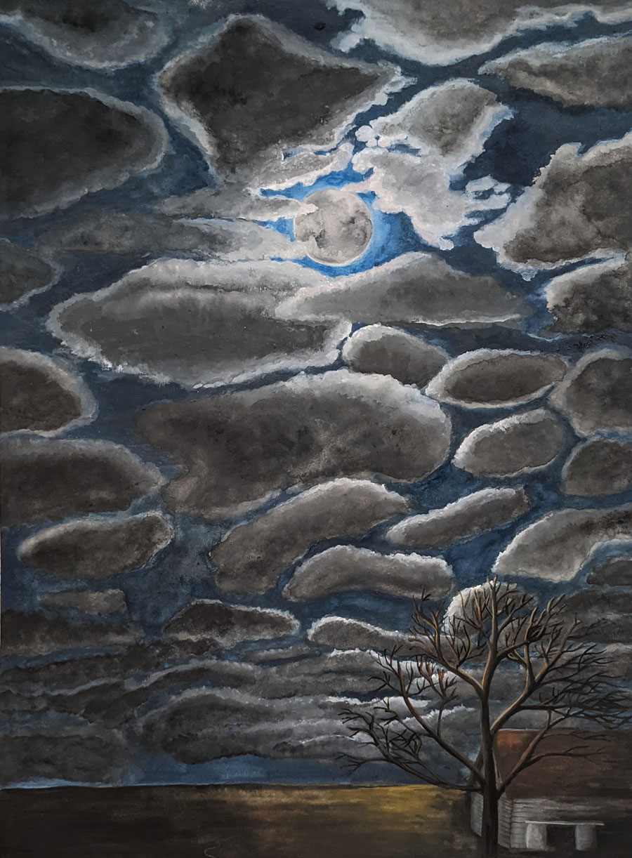 large painting of a  night time sky with a glowing full moon  and patches of gray clouds.  There is a bare tree and a barn in the right hand corner.  The colors of the painting are mostly gray, and blue, with gold and sienna highlights where the moonlight hits the ground.