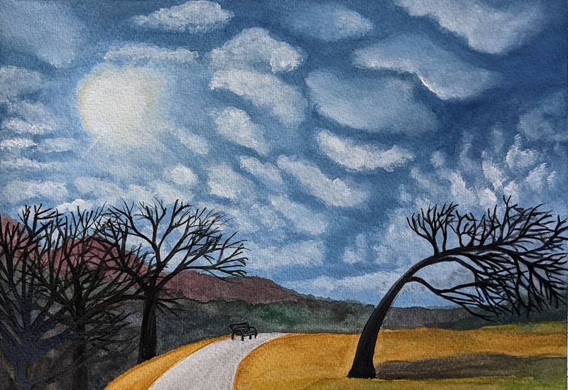 A path curves over a maize/ochre field.  There are trees with no leaves on either side.  The trees on the left stand straight up and follow the curve of the path, and the tree on the right is bent over sideways.  There is a small bench towards the end of the path.  Most of the painting is little white clouds over a bright blue sky.  The sun is shining.