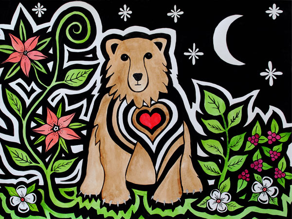 A bear with a large red cartoon heart sits beneath a crescent moon and stars.  On the left of the bear there are red lilies, and on the right there are purple berries