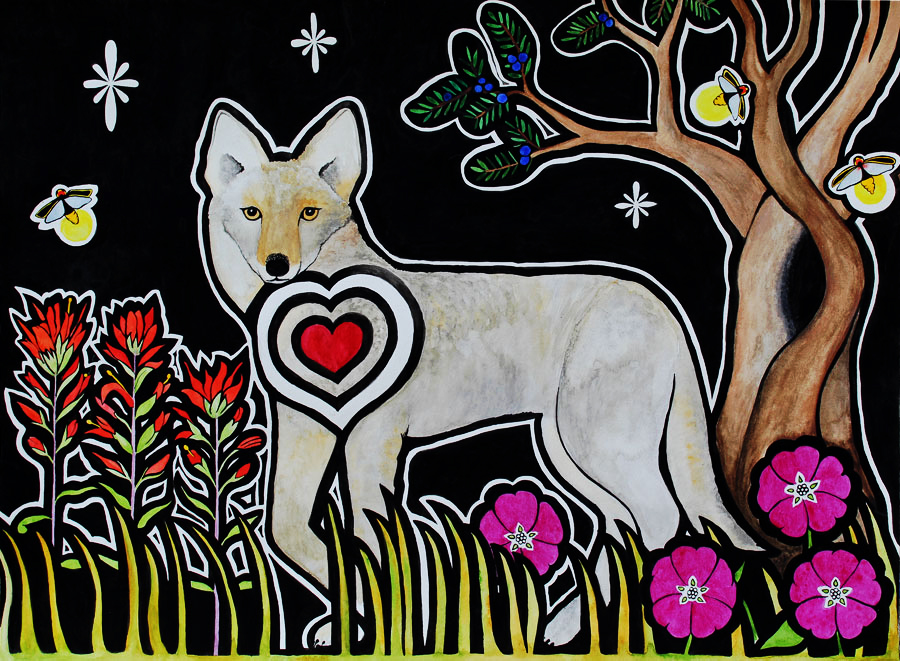 A coyote with a red heart walks underneath a black sky with stars. To the left of the coyote there are orange indian paintbrushes, and to the right there are purple flowers called wine cups.  There is also a twisty tree in the background and lightning bugs flying in the sky