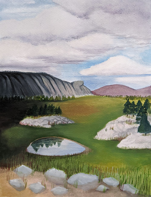 Landscape scene with lots of clouds, pinkish grey mountains, gray rocks, trees, and a pool with a reflection of trees and sky.  Lots of gold highlights and green grass