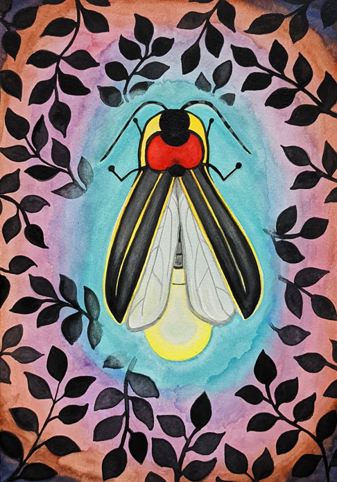 A graphic painting of a little firefly surrounded by aqua, lilac, copper and navy rings of light, with a pattern of dark leaf shadows  surrounding