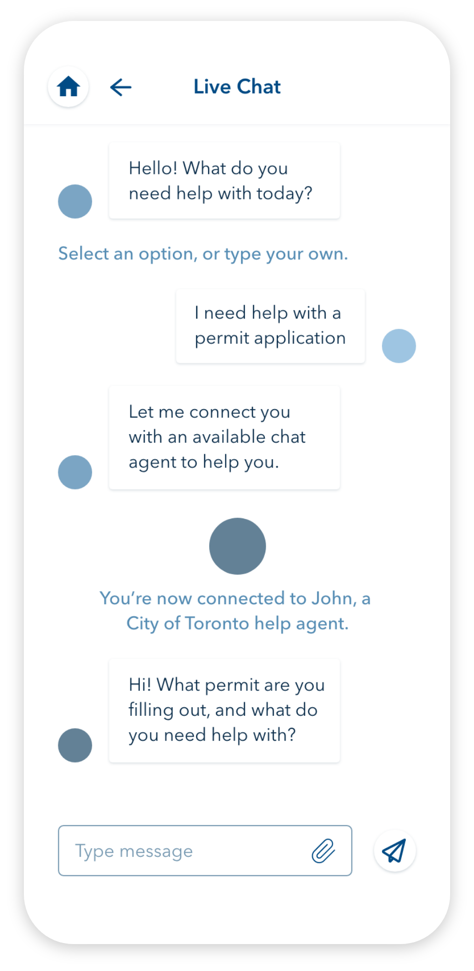the live chat screen, showing a conversation with a chat bot that connects the user to a help agent