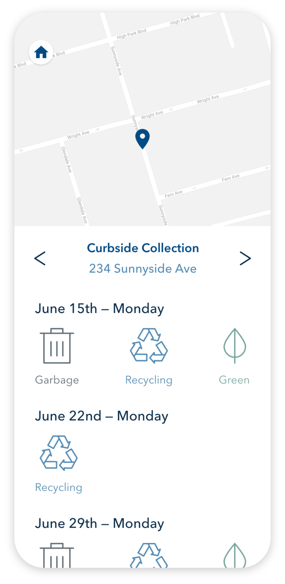 the waste management screen, showing the map and curbside collection schedule