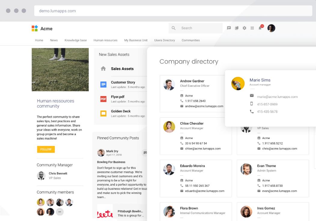 Talkspirit - Lumapps interface