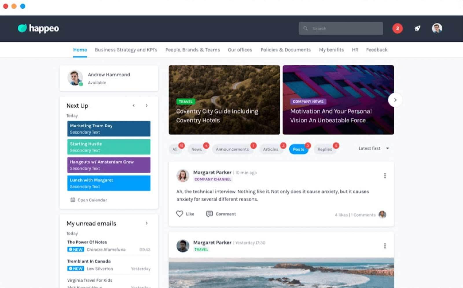 Talkspirit - Happeo interface